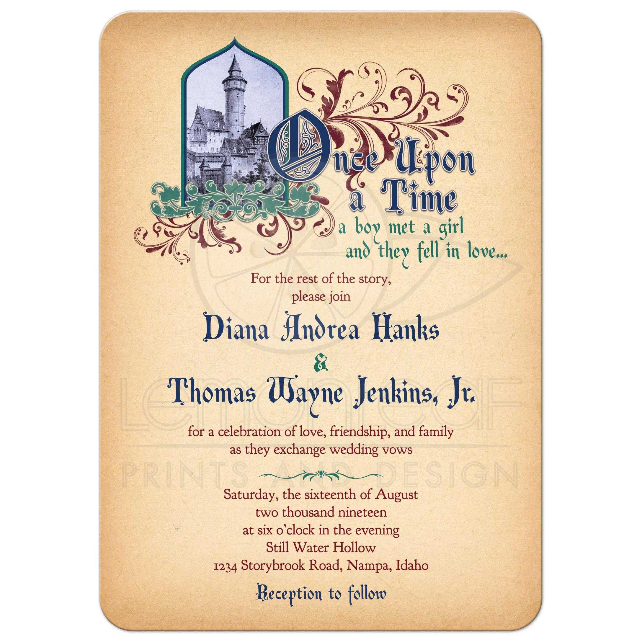 Wedding Invitations Castle Hill: Fairy Tale Wedding Invitation Medieval Castle Once Upon A