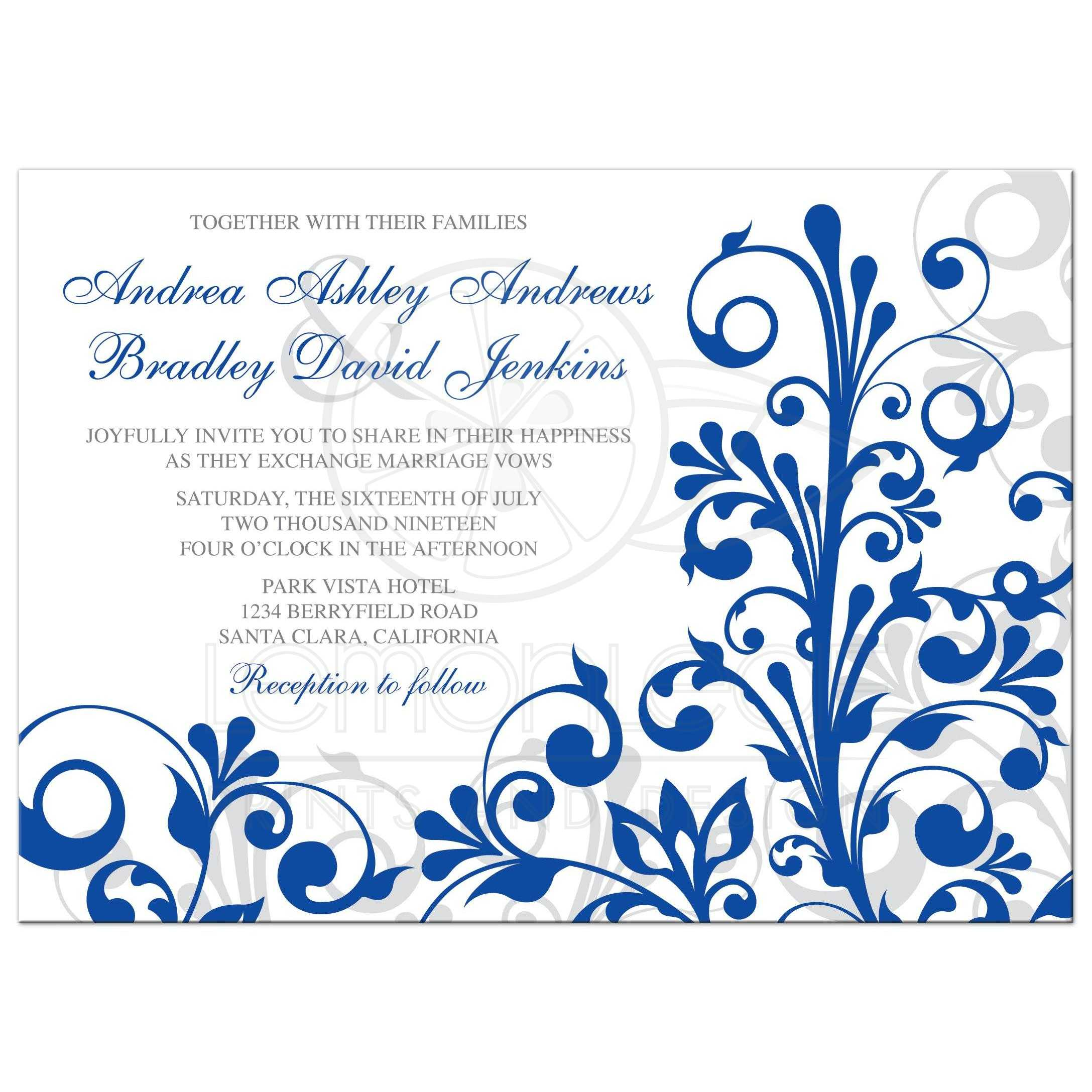 Elegant Royal Blue And White Abstract Floral Wedding Invitation Front: Royal Blue Wedding Invitation Set At Websimilar.org