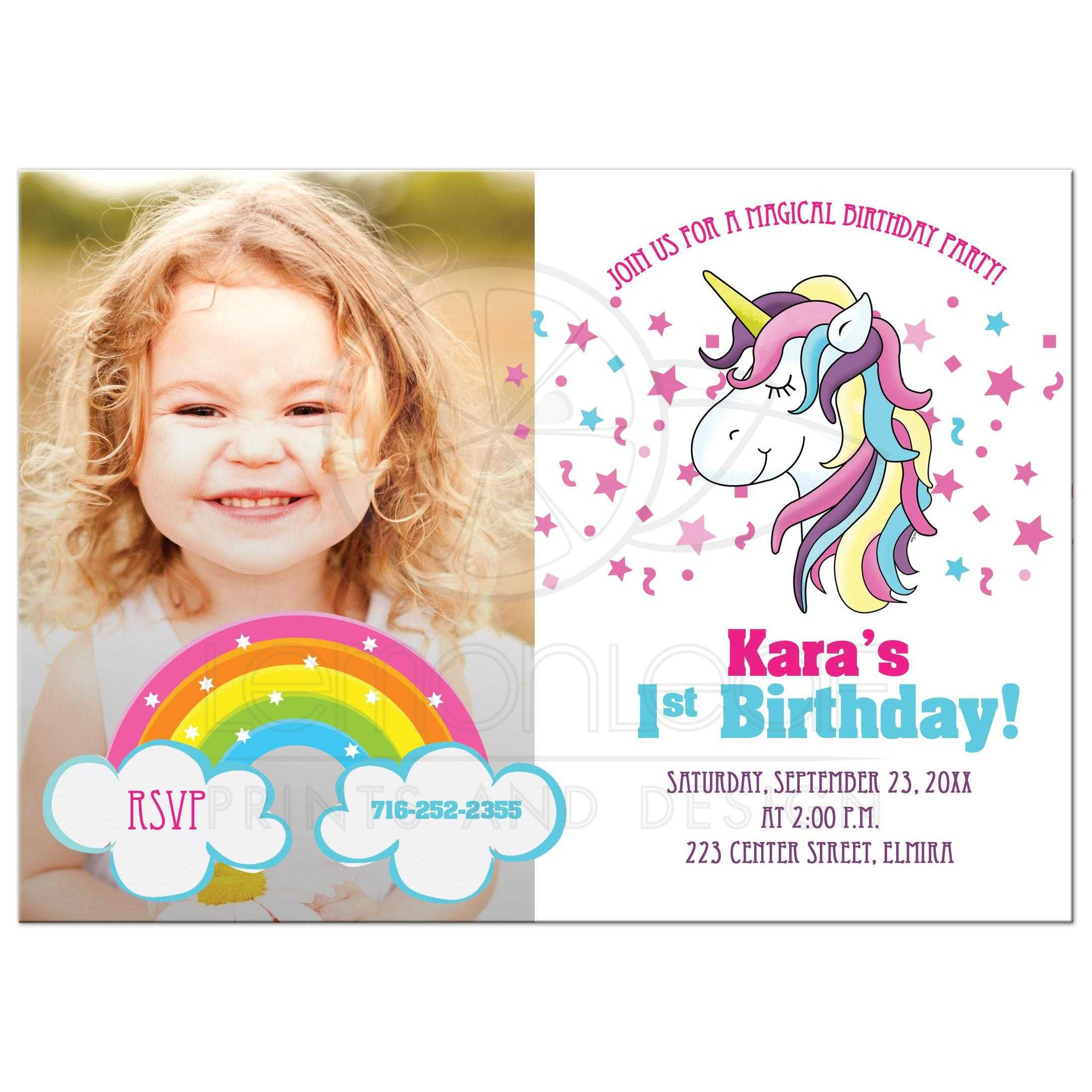 Admirable Unicorn Birthday Photo Invitation Card Funny Birthday Cards Online Fluifree Goldxyz