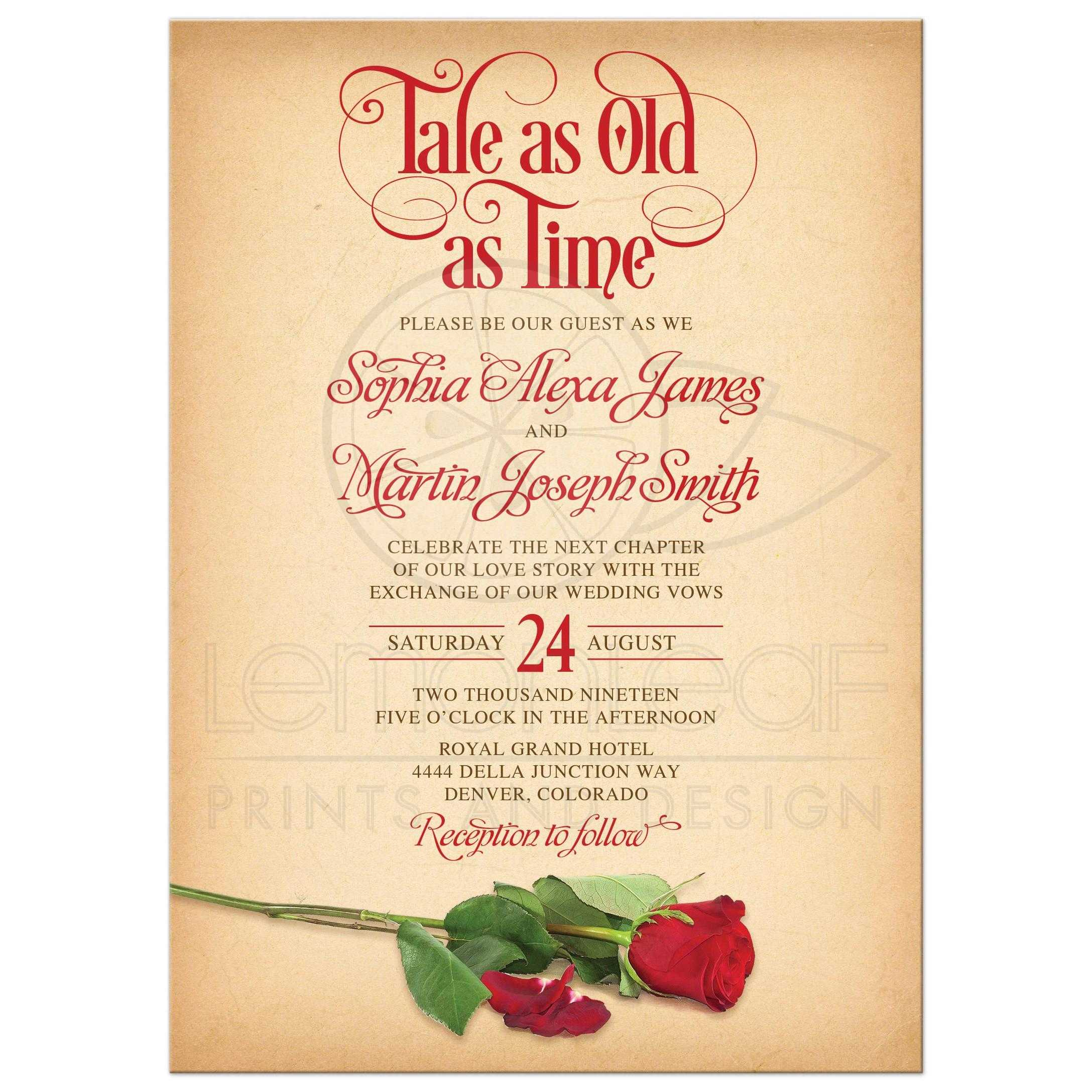 Fairy Tale As Old As Time Wedding Invitation Vintage Parchment Rose
