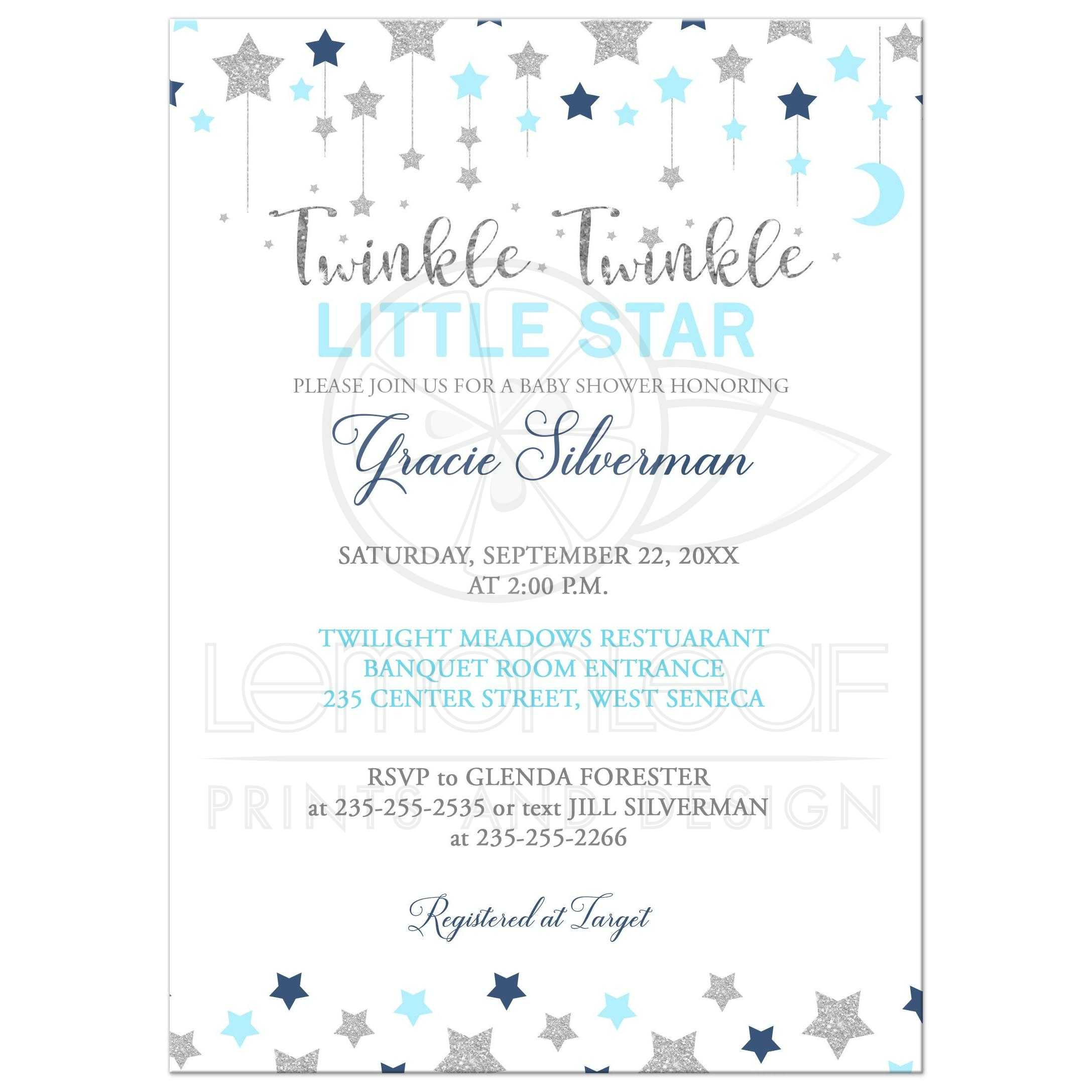 photo about Free Printable Twinkle Twinkle Little Star Baby Shower Invitations identify Twinkle Twinkle Tiny Star Silver and Blue Boy Kid Shower Invitation