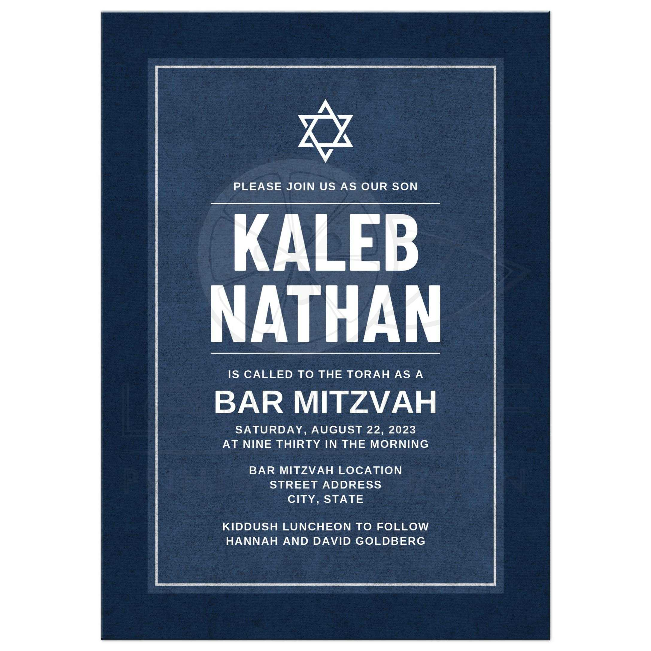 Dark blue bar mitzvah invitations with boys name in bold