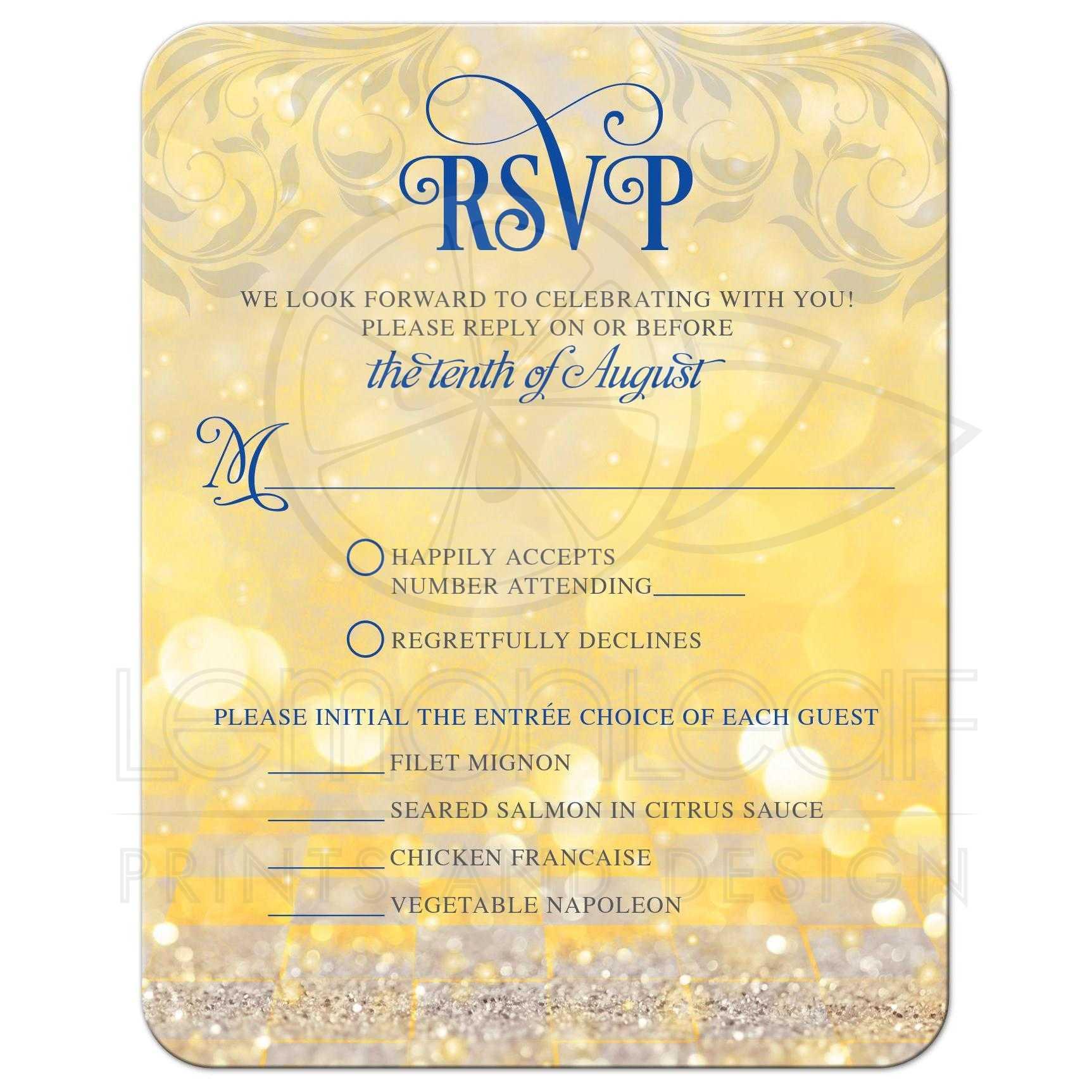 Real Fairytale Weddings Silver Spring Md: Fairy Tale Wedding Meal Choice RSVP Card Royal Blue Gold