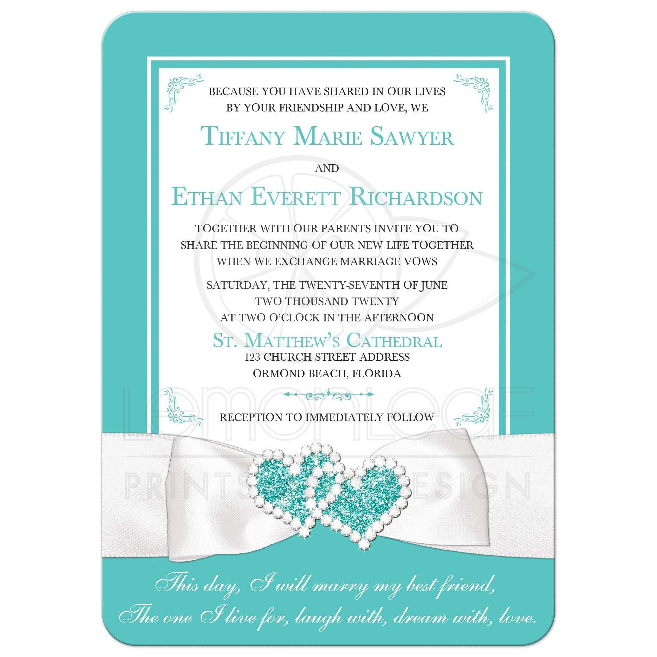 Lux Robin S Egg Blue White Printed On Jewelry Ribbon Wedding Invitation