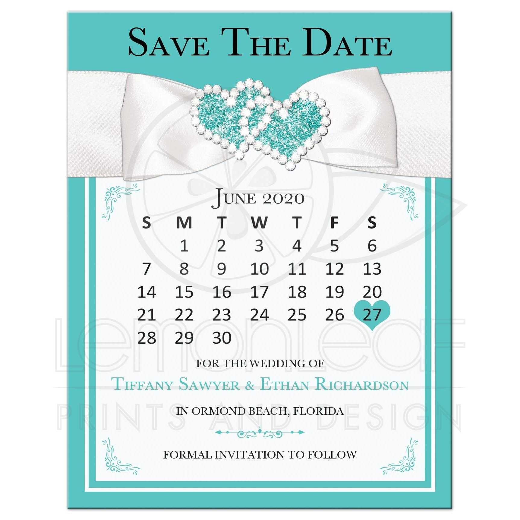 Lux Teal Blue White Wedding Save The Date Card With Printed On Bling Bow