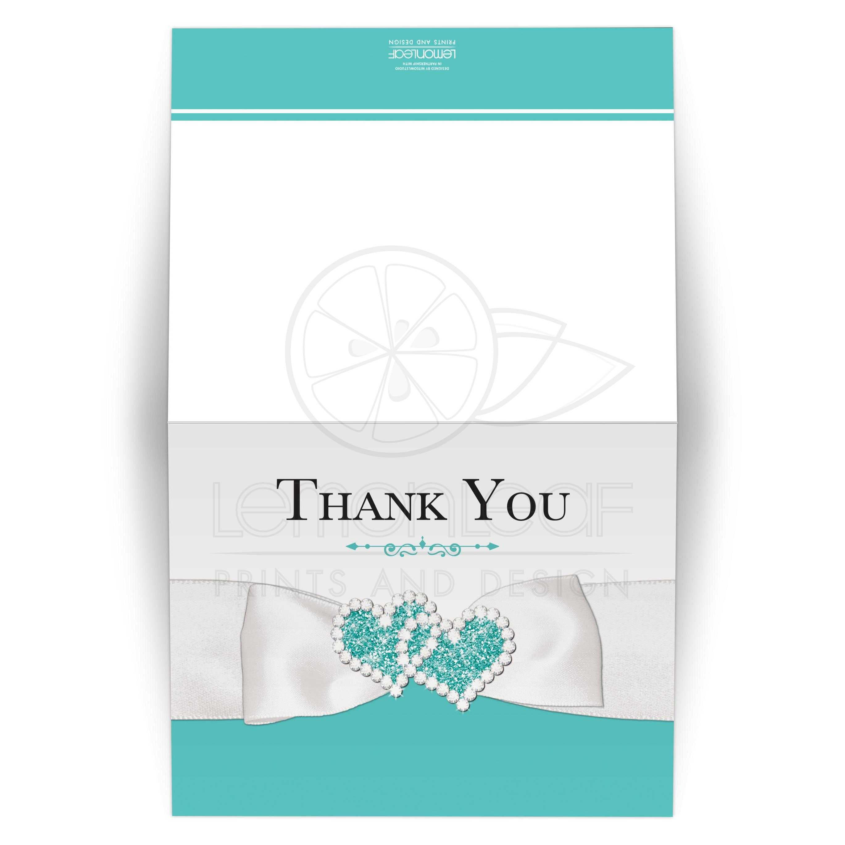 Lux Teal Blue White Wedding Thank You Card With Printed On Bow Jewels Blank