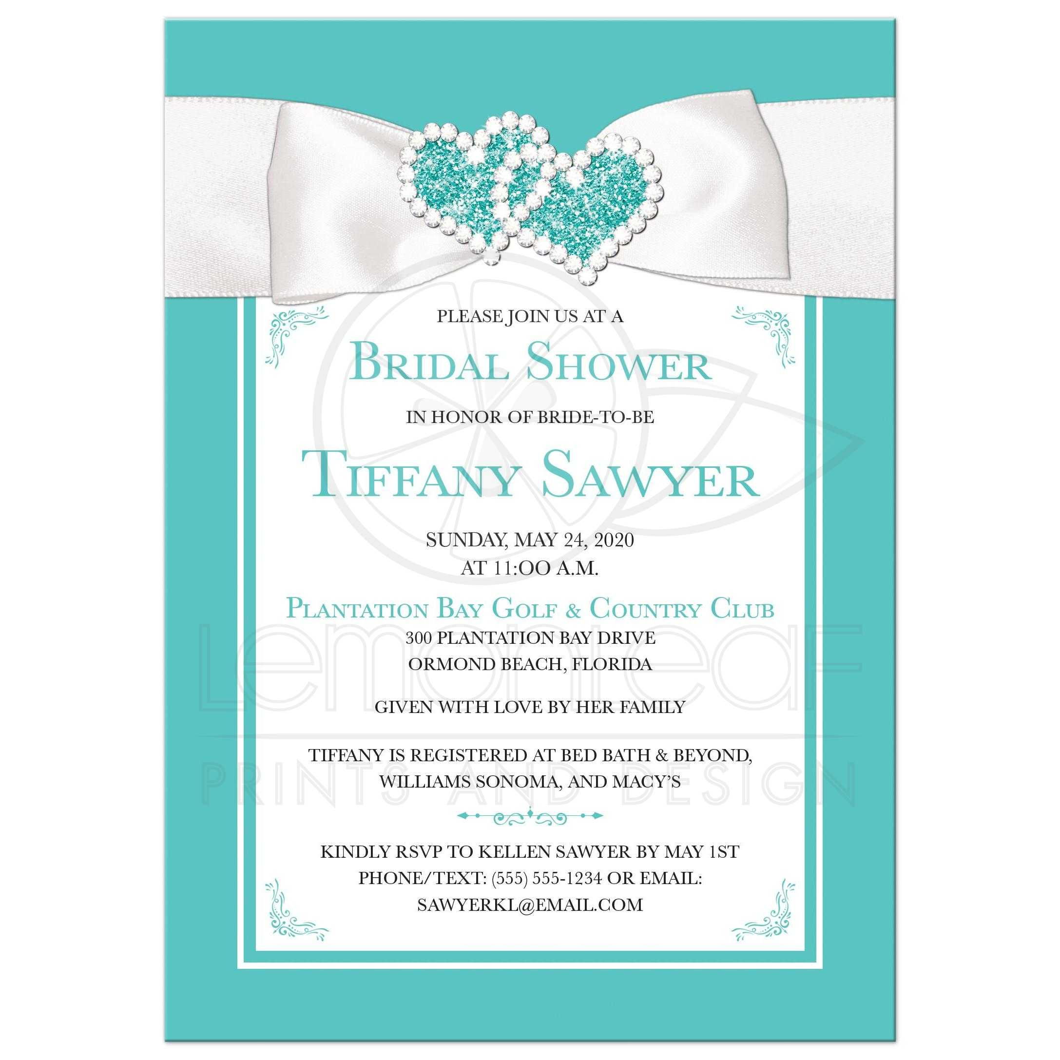 Wedding Shower Invitations.Lux Teal Blue And White Bridal Shower Invite Printed On Bling Bow
