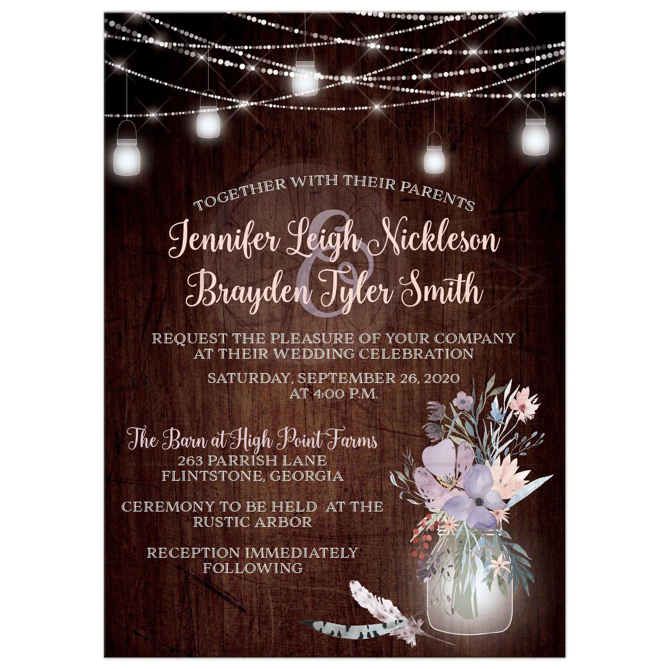 Rustic Wood Look String Lights And Mason Jars Wedding Invitation With Smoky Blue Purple Peach Flowers