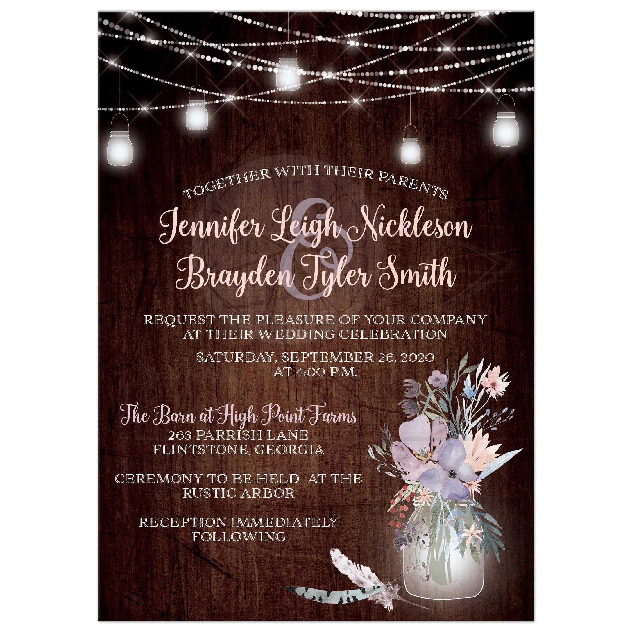 4e1d701ae72f Rustic Wood Look String Lights and Mason Jars Wedding Invitation ...