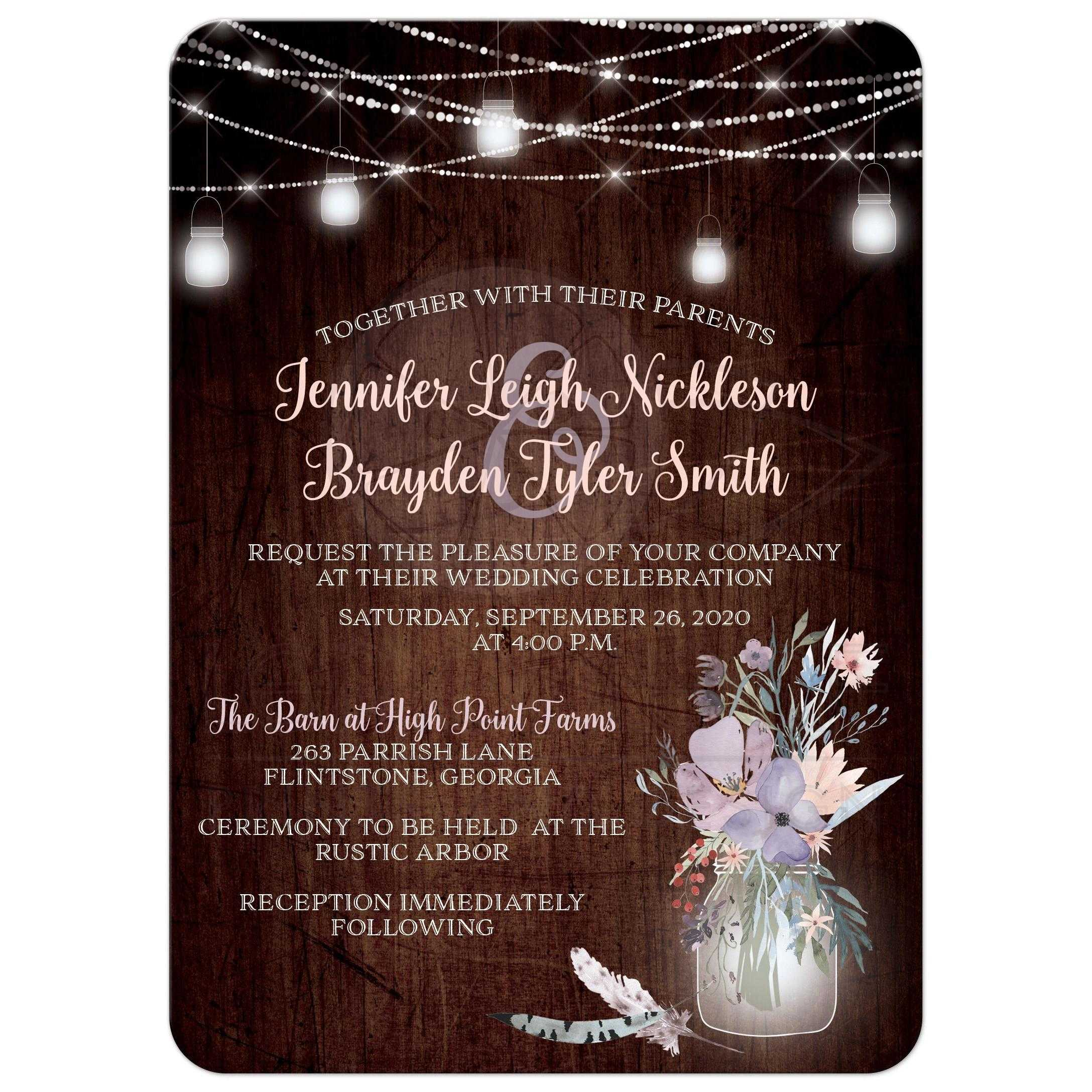 Pink Rustic Wedding Invitation With Brown Wood Mason Jars String Lights And Purple: Brown Rustic Wedding Invitations At Reisefeber.org