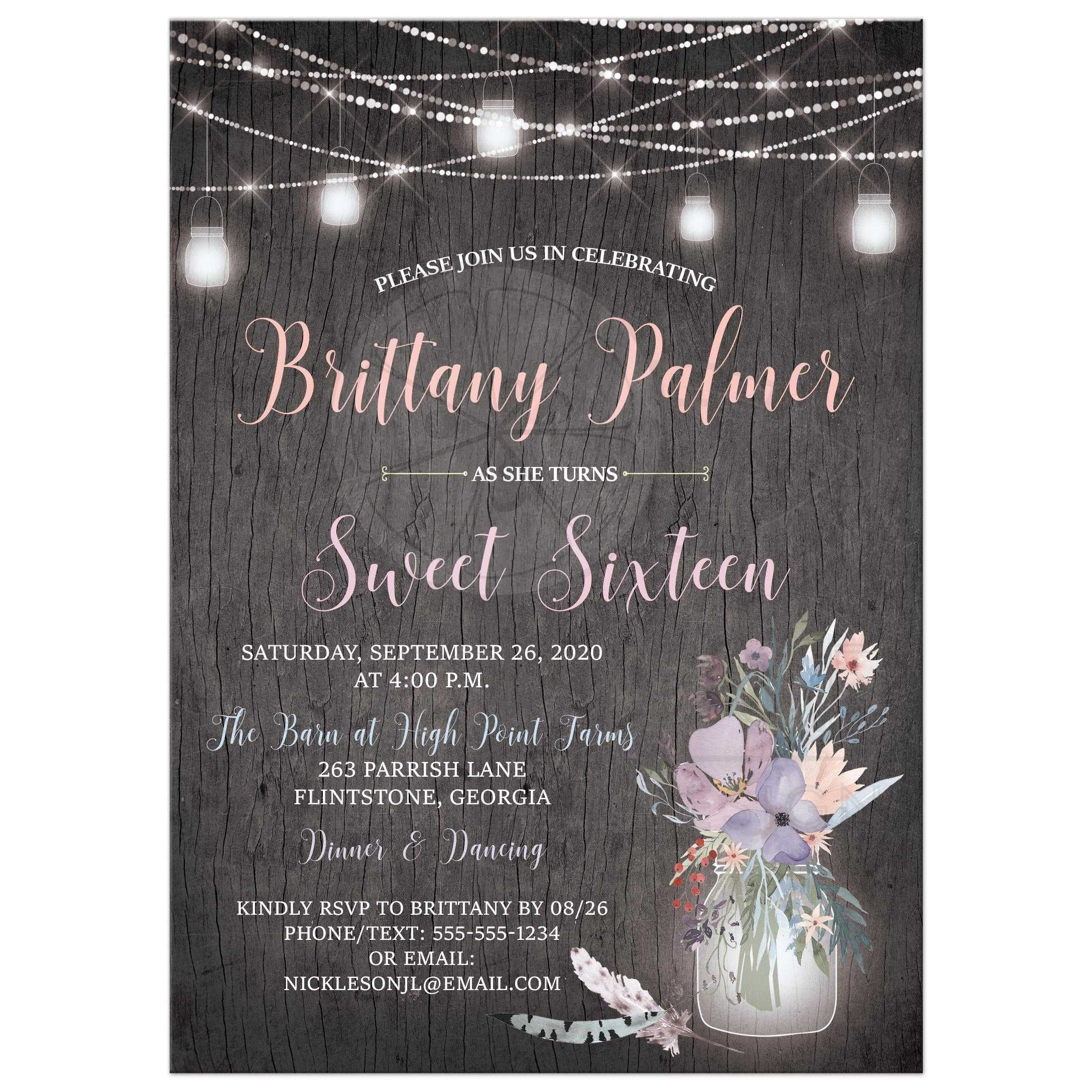 check out efdcc 40eda Gray Barn Wood Grain Sweet 16 Invitation with Mason Jars, String Lights,  and Purple Flowers
