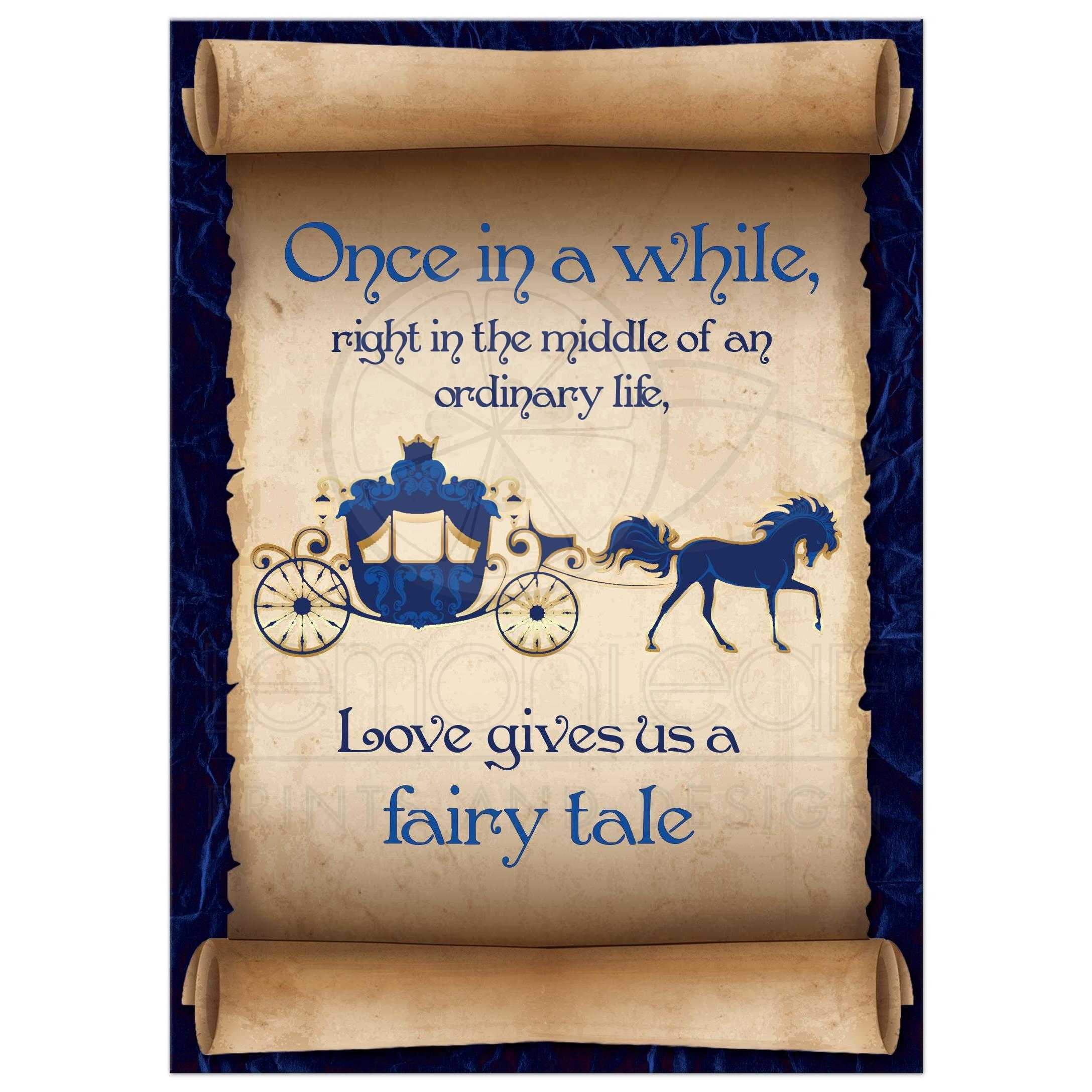 Fairy Tale Horse Carriage Paper Scroll Wedding Invitation