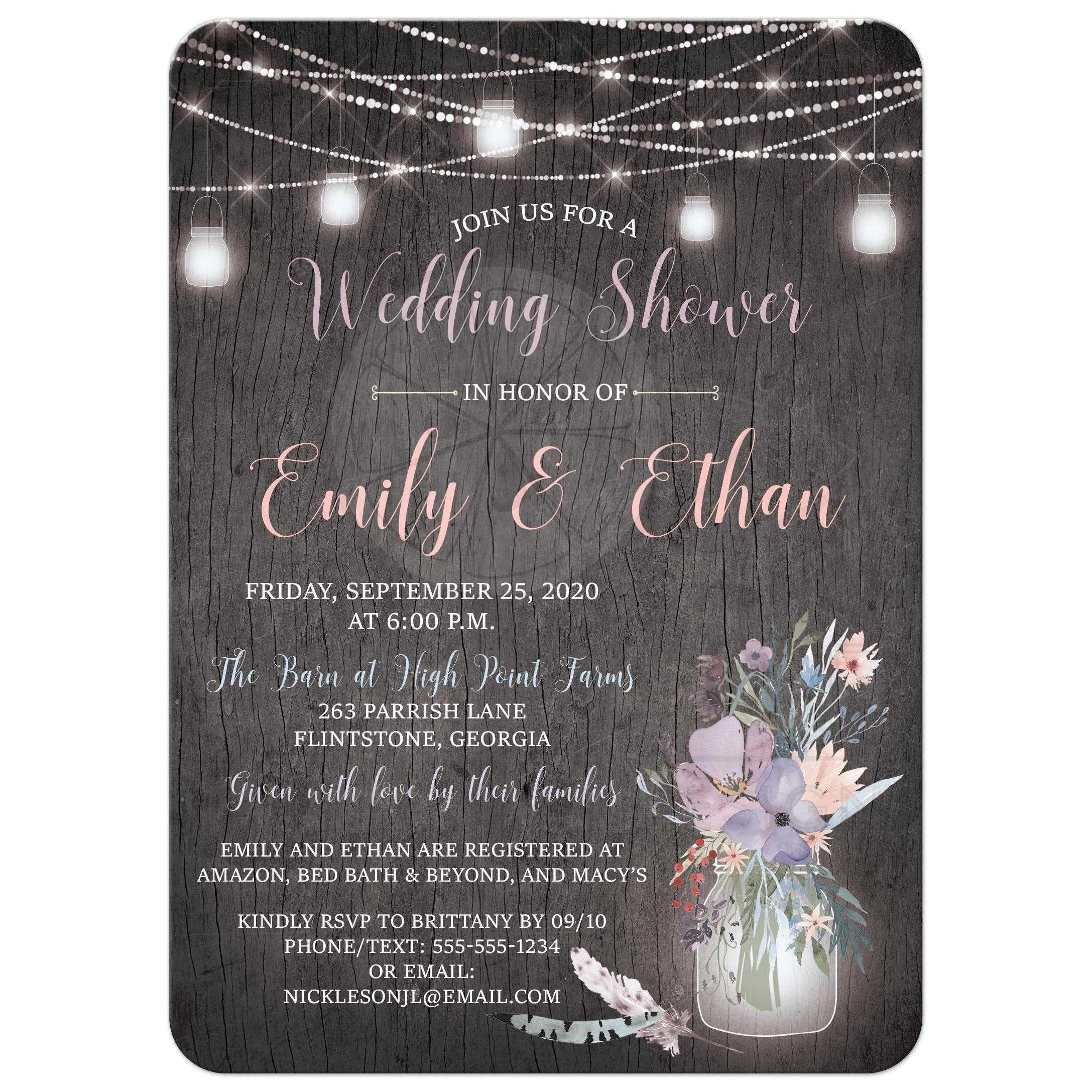 Rustic Wedding Shower Invitation Gray Barn Wood With Mason Jars