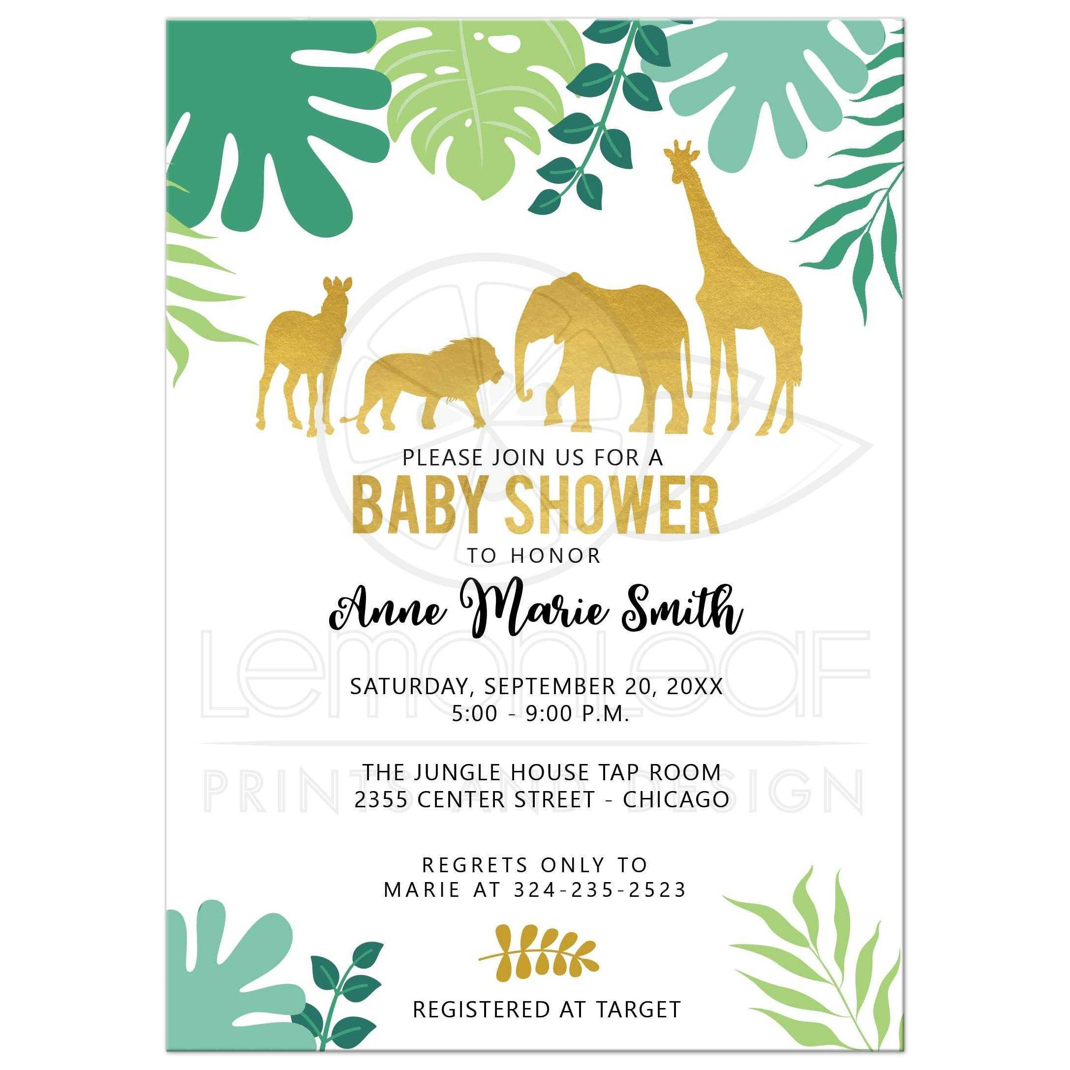 Gold Safari Jungle Baby Shower Invitation