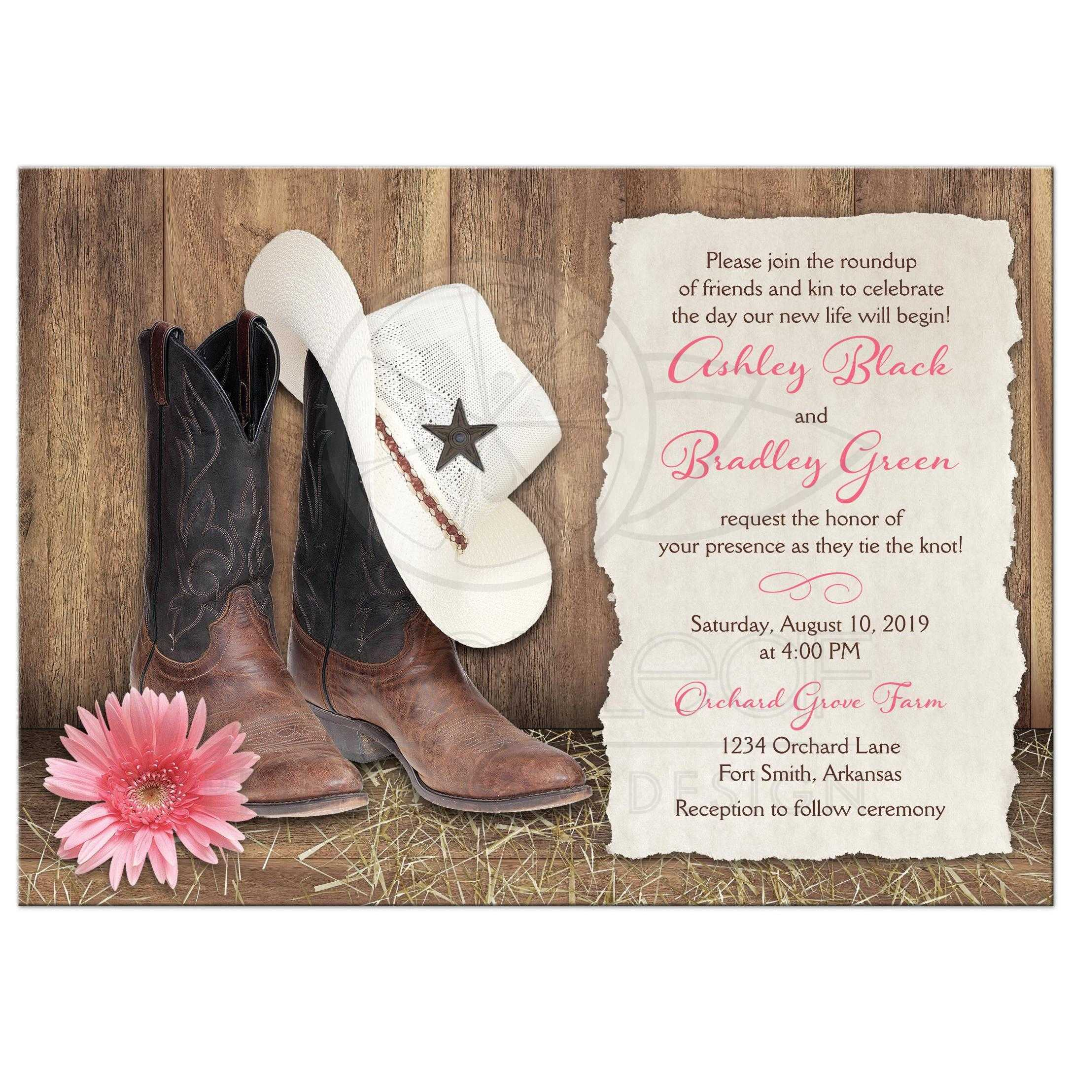 Country Western Wedding Invitations Cowboy Boots Hat Pink Daisy Barn