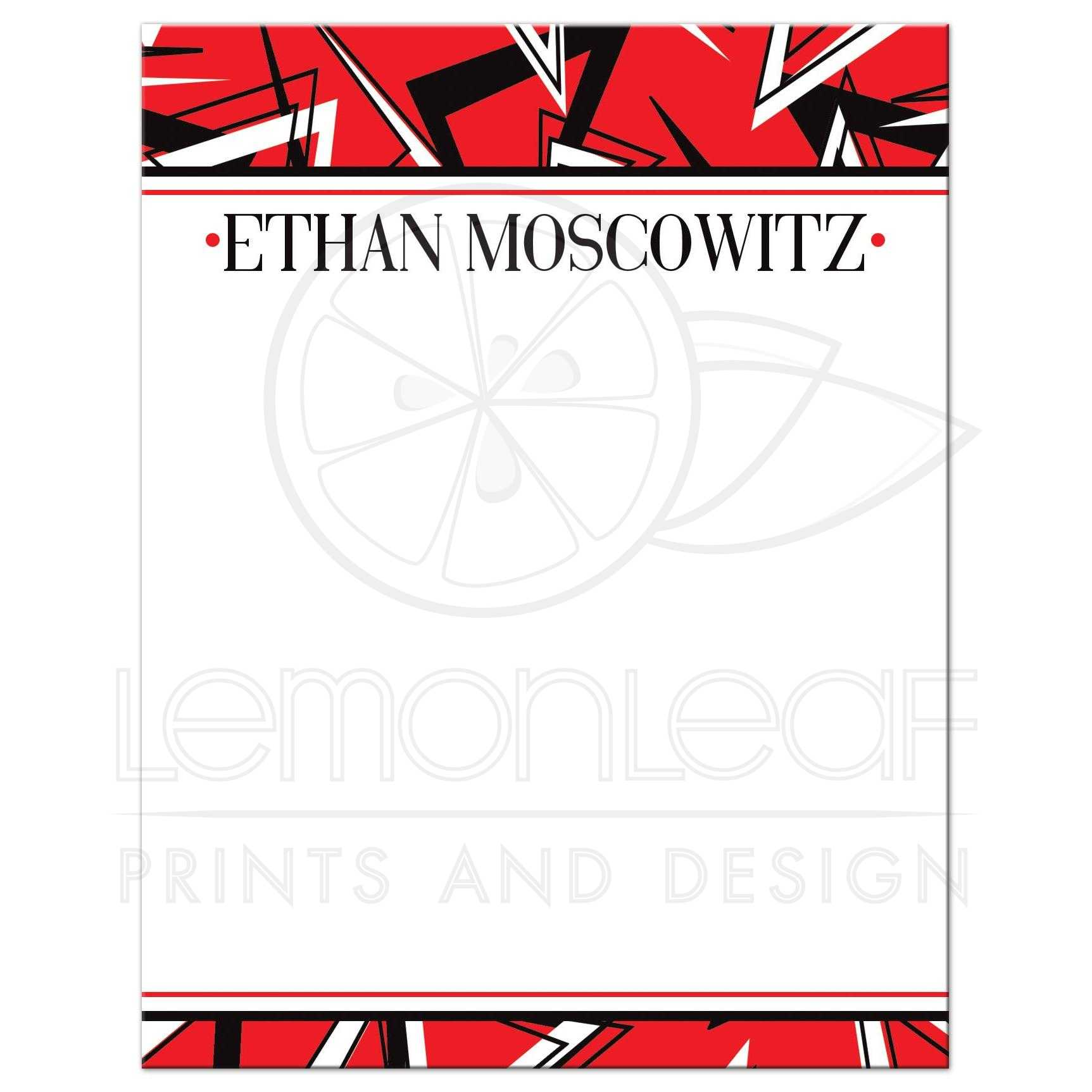 Black White And Red Modern Typography Bar Or Bat Mitzvah Thank You Card With