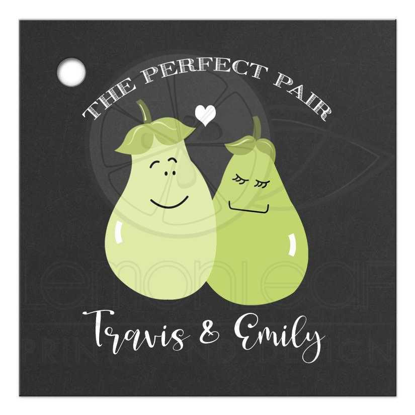 Cute Wedding Gift Ideas: A Perfect Pair Cute Wedding Couple Pear Gift Tag