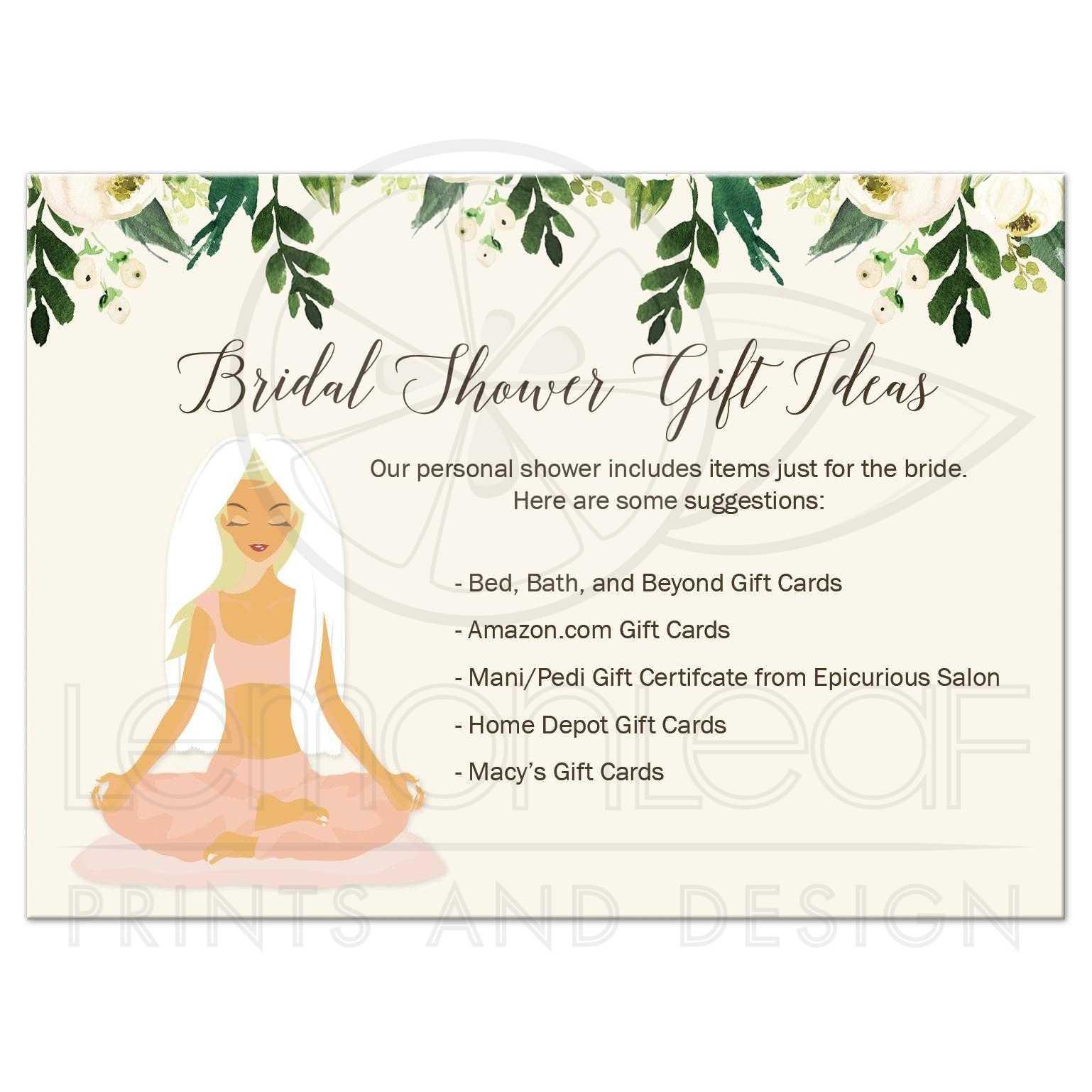 Home Depot Wedding Registry.Yoga Bridal Shower Enclosure Card Bride Gift Registry Card