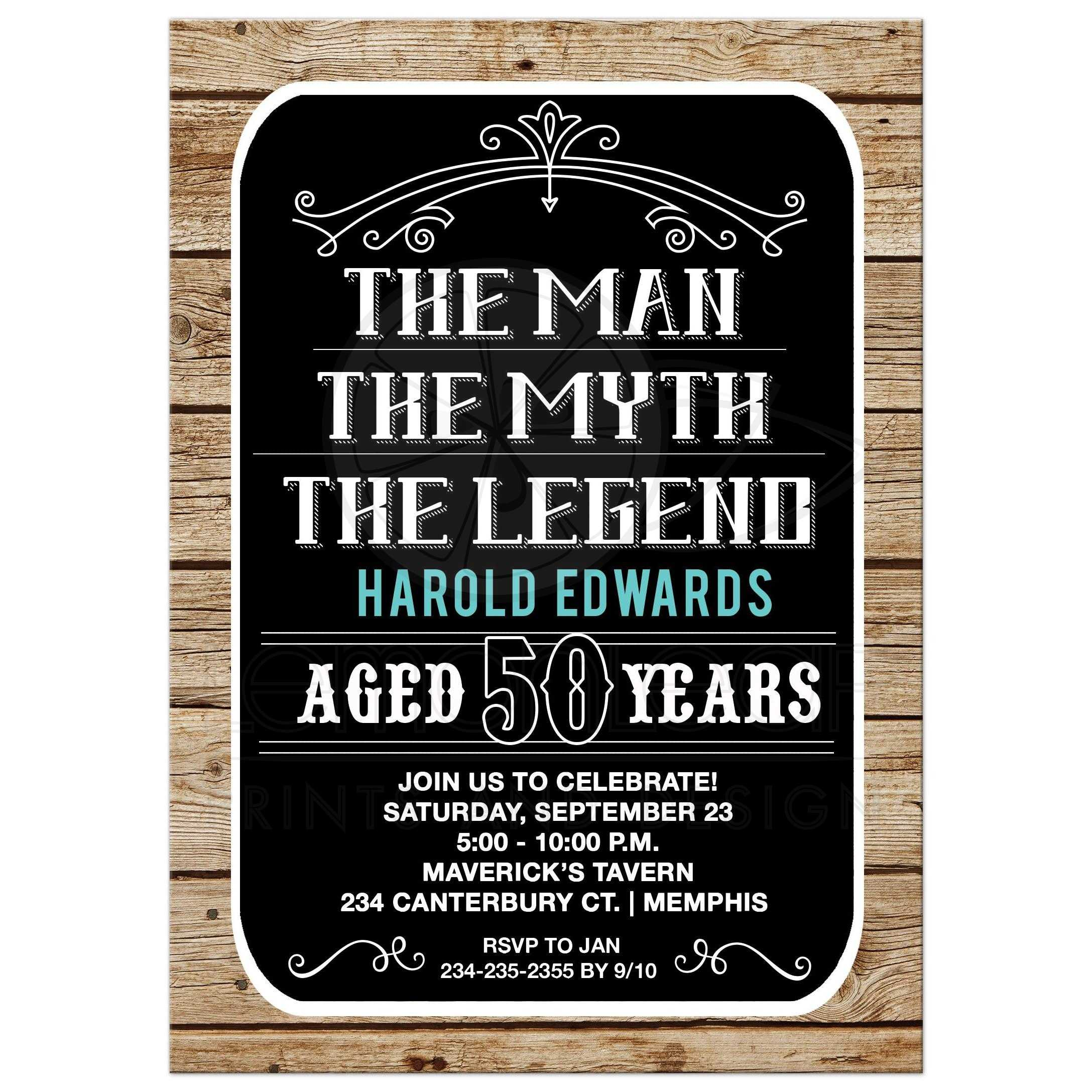 Man Myth Legend 50th Birthday Invitation 50 Year Old Invite