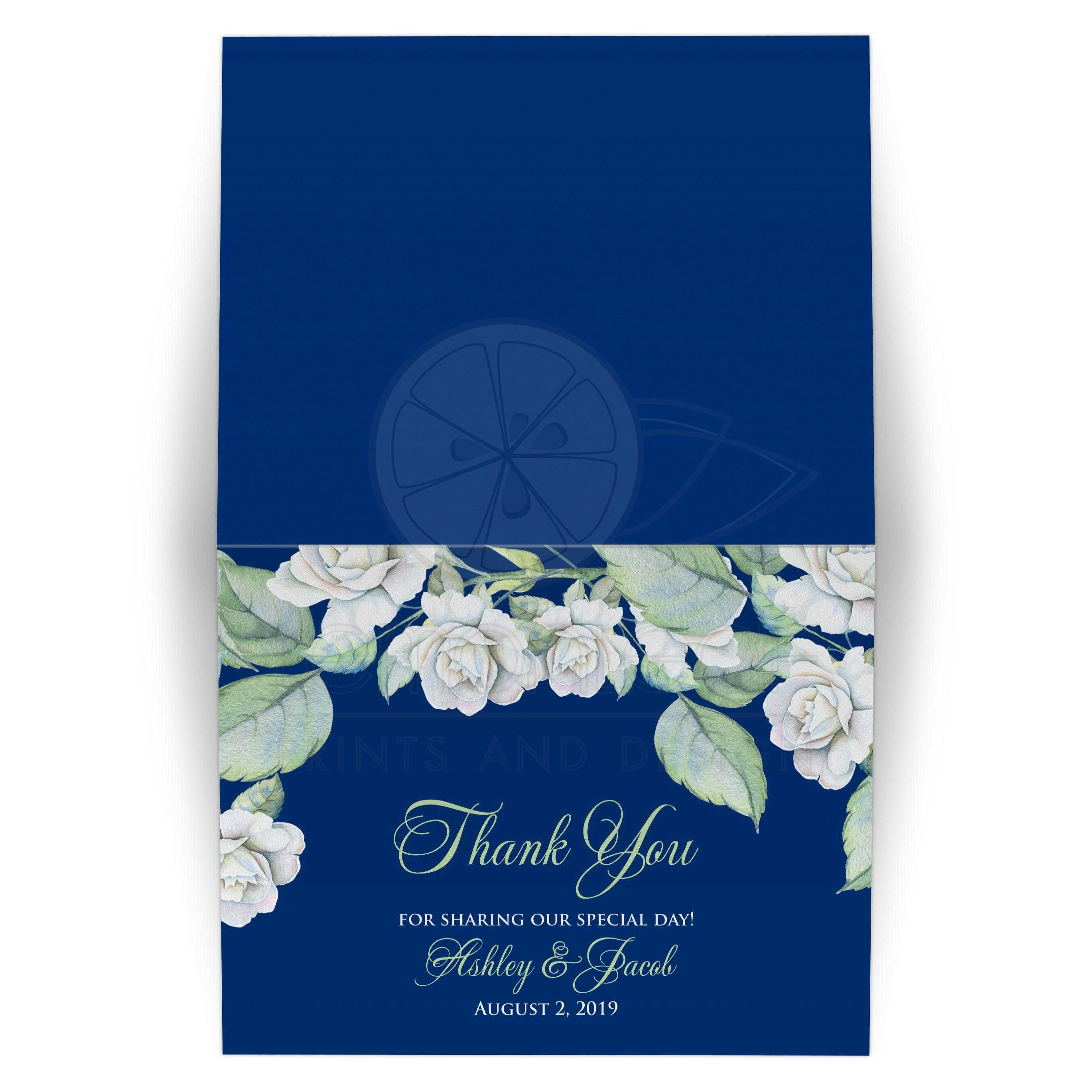 Navy Blue White Rose Wedding Thank You Card Vintage
