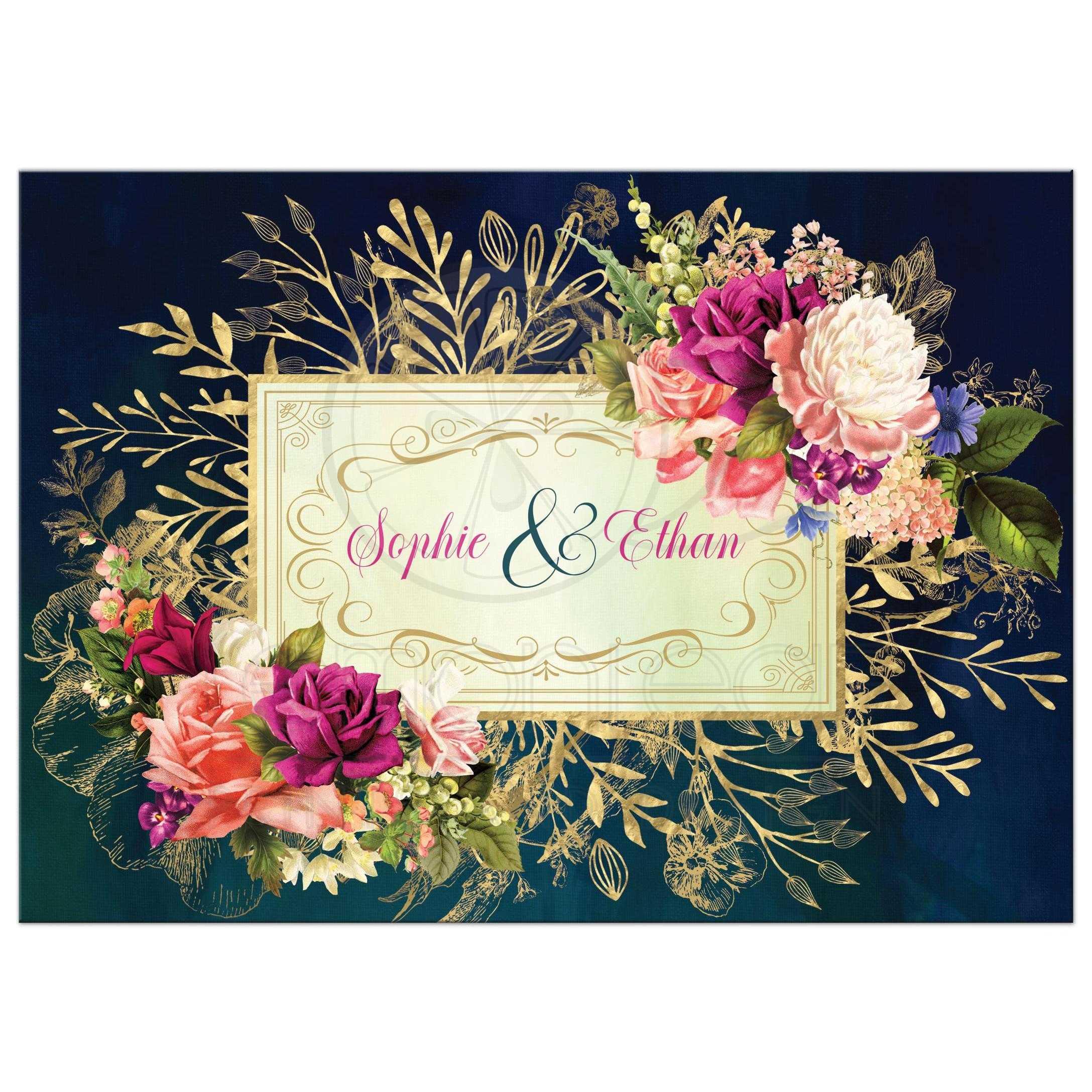 Floral Wedding Invitations.Teal Navy Green Gold Bold Florals Foliage Wedding Invitation