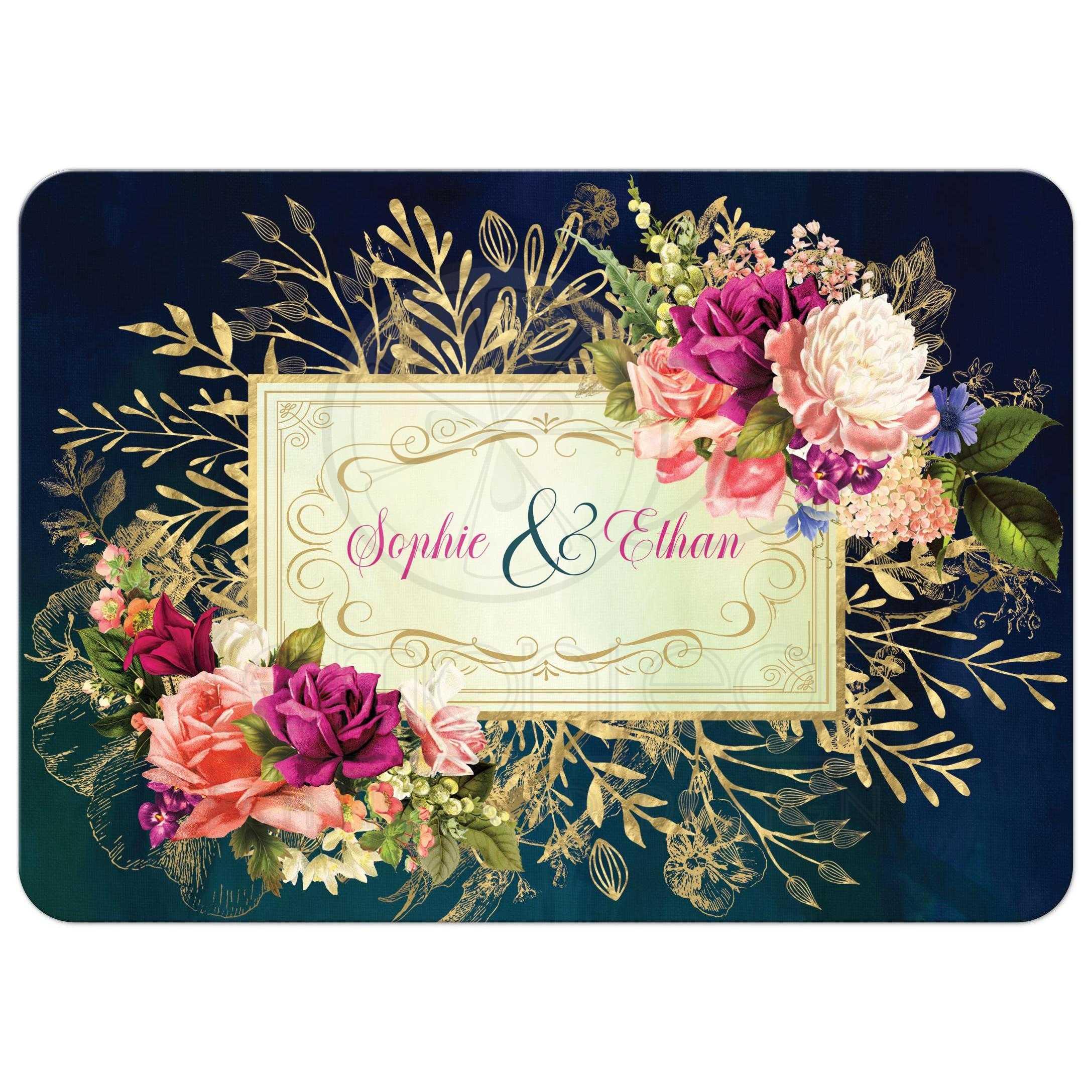 Teal Navy Green Gold Bold Florals Foliage Wedding Invitation