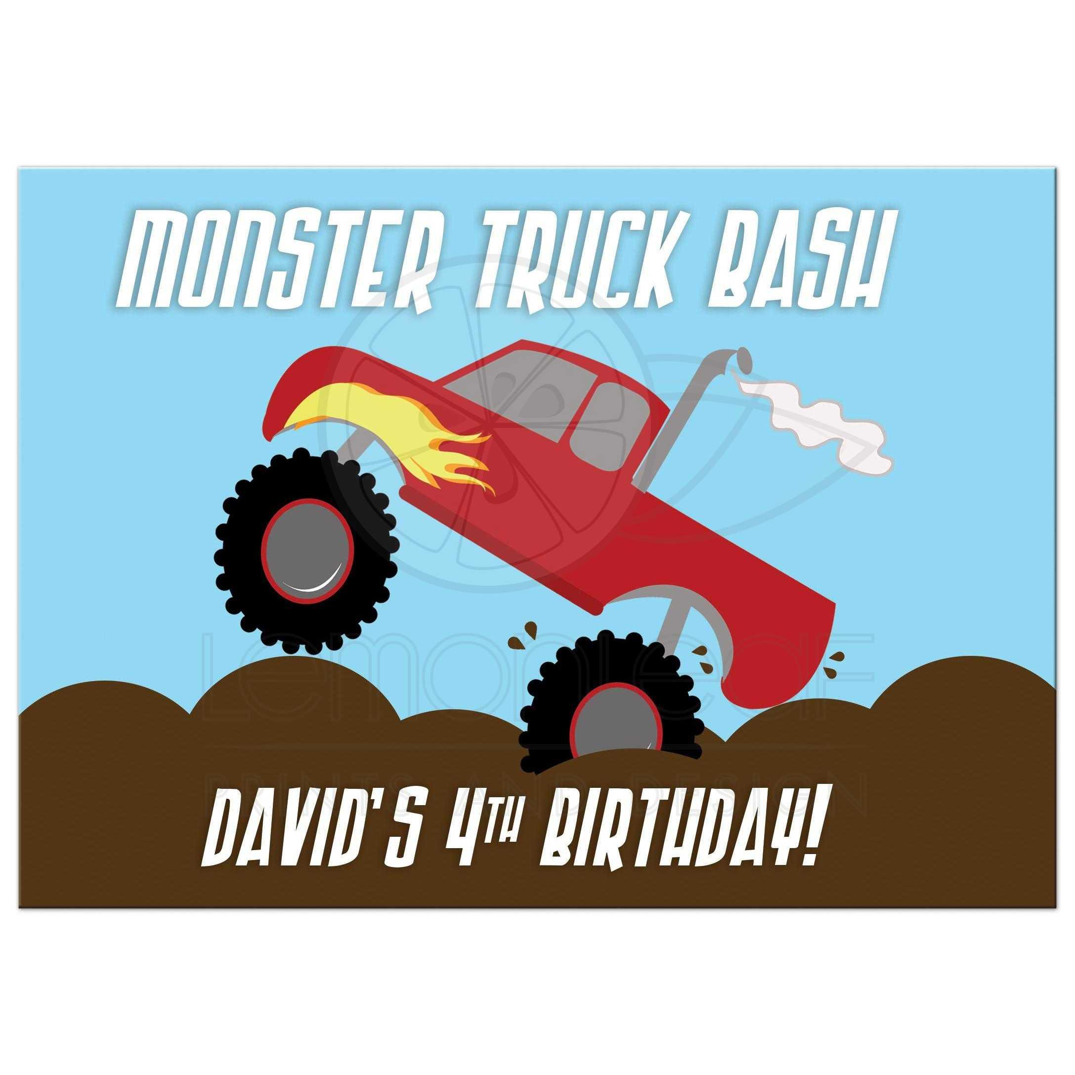 Red Monster Truck Birthday Boys Birthday Any Age Custom Invitations