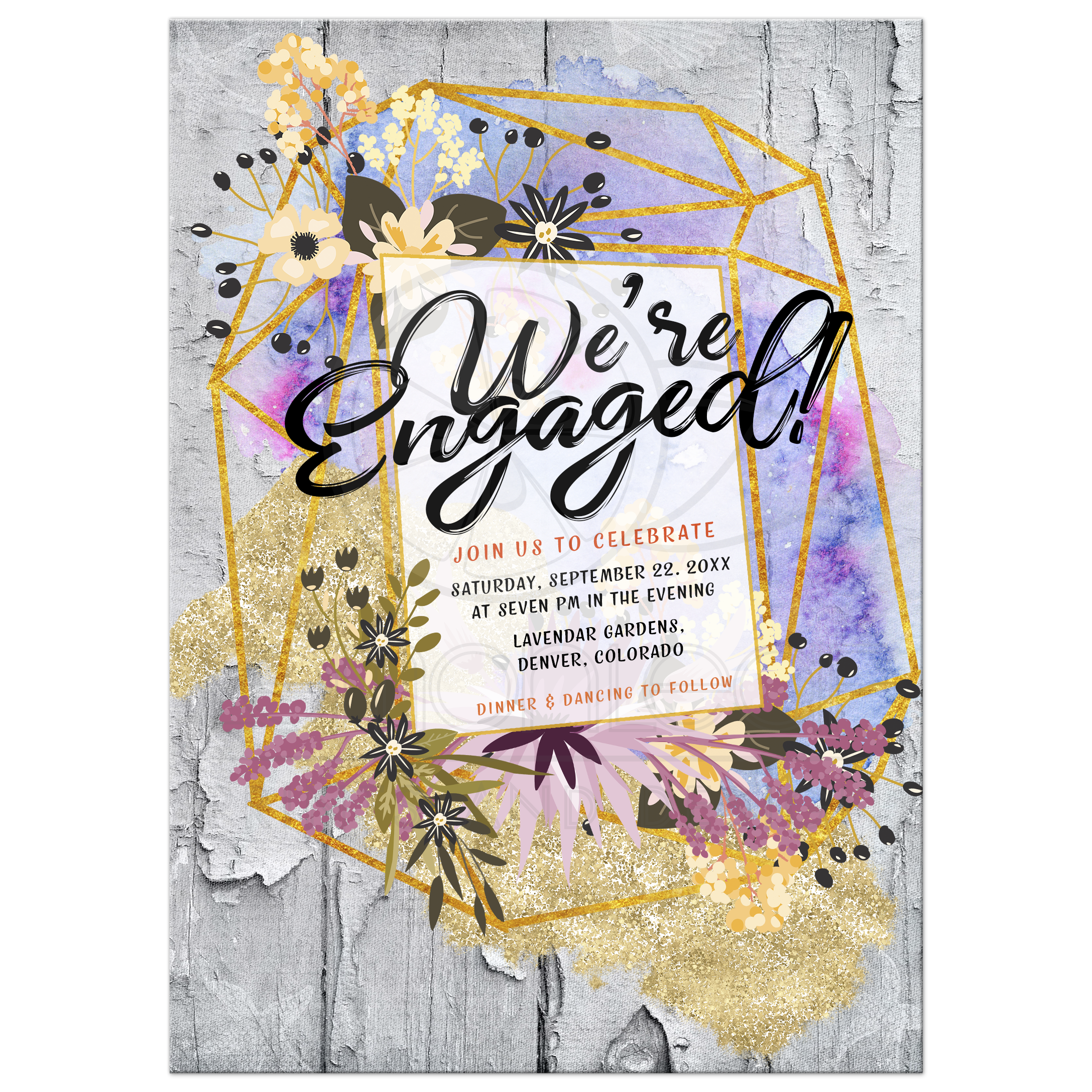 Modern Rustic Engagement Party Invitation