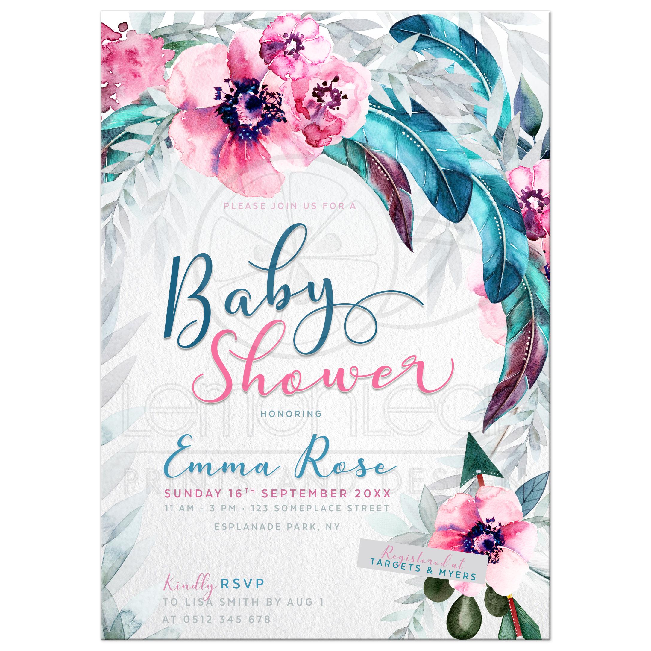 Flowers Feathers Boho Baby Shower Invitation