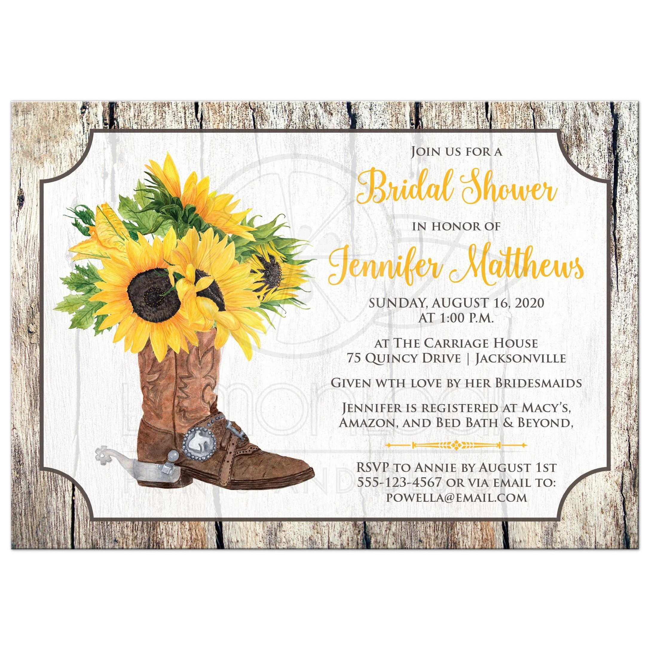 4c9ee730005 Watercolor Sunflowers in Cowboy Boot Bridal Shower Invite