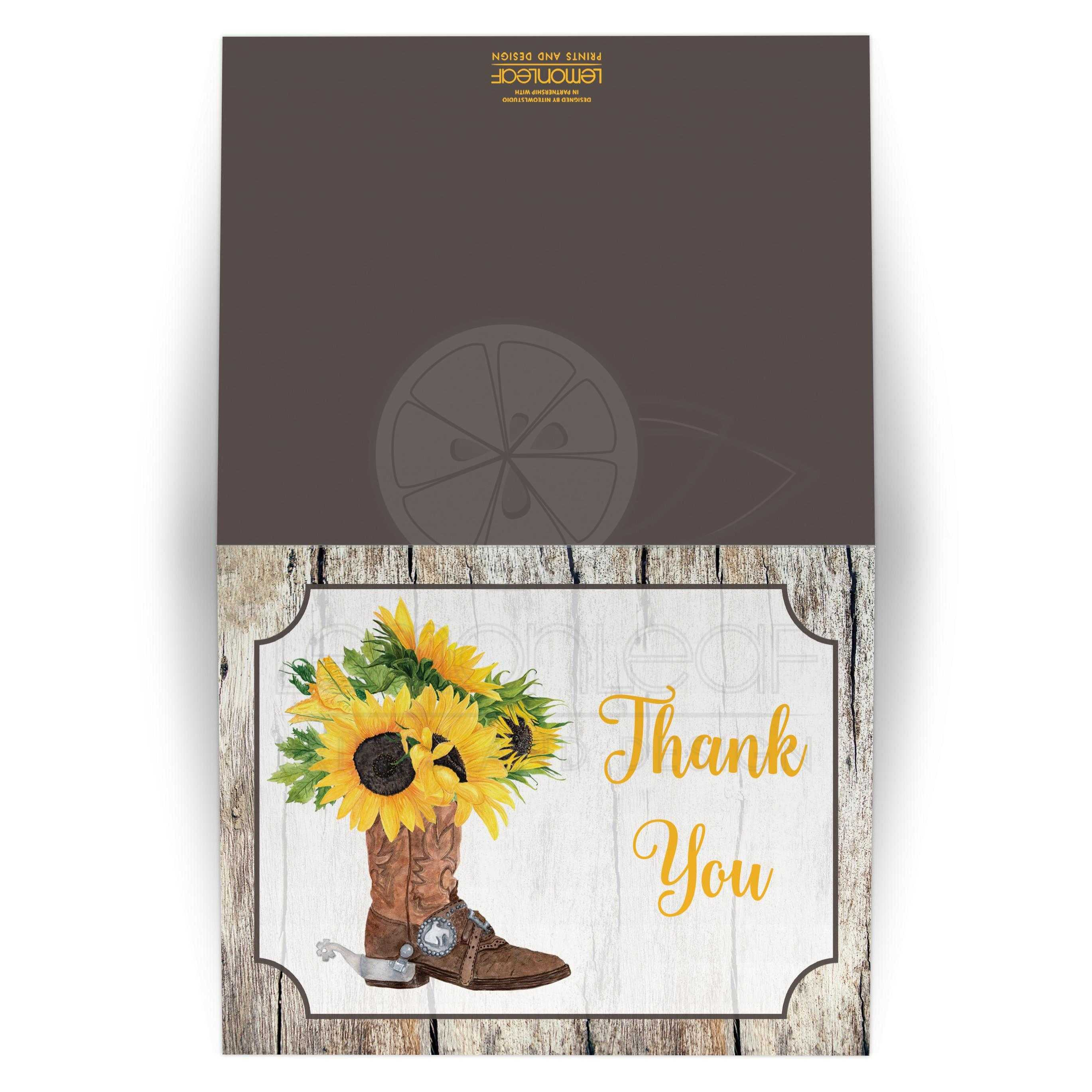 fdbe319db2e Watercolor Sunflowers in Cowboy Boot Thank You Card