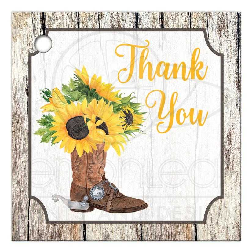 46a06a13613 Personalized Sunflowers in Cowboy Boot Favor Tag