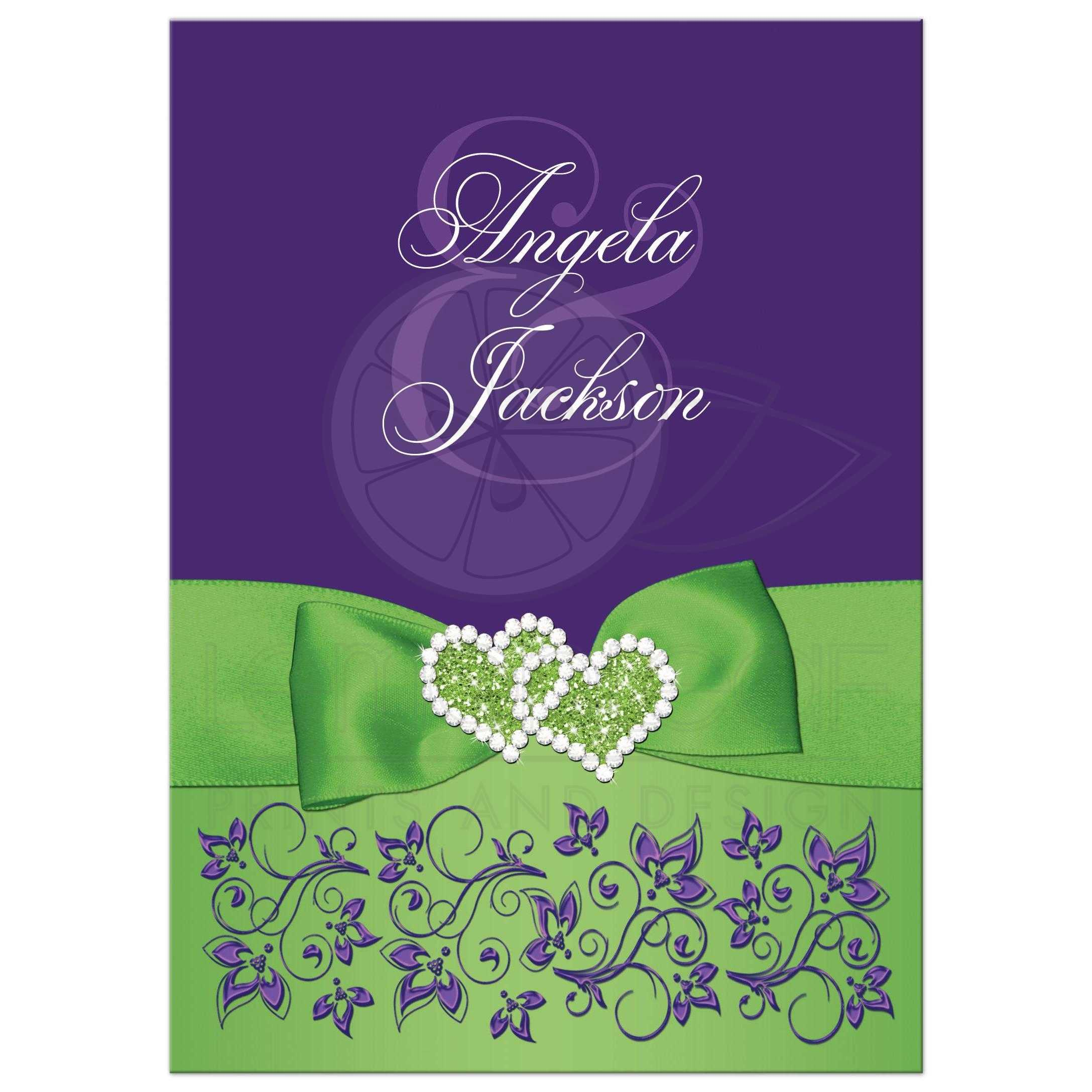 Lime Green, White, Purple Floral Wedding Invitation | PRINTED RIBBON,  Jewels, Glitter Double Hearts