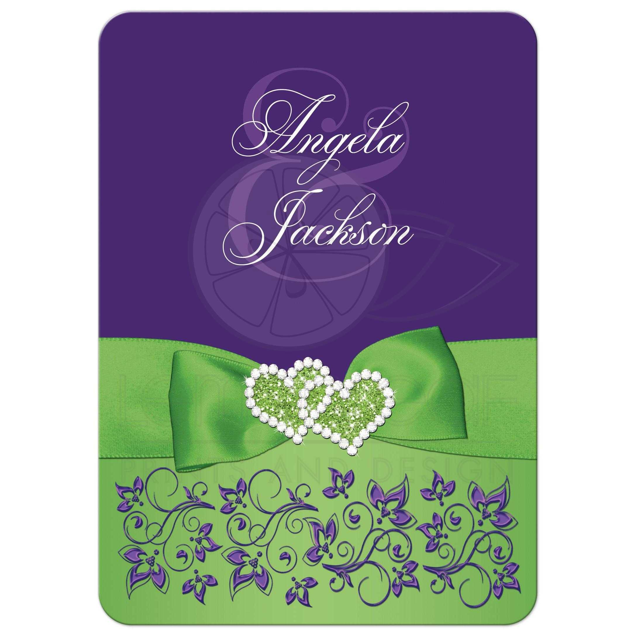 Purple And Green Wedding.Lime Green White Purple Floral Wedding Invitation Printed Ribbon Jewels Glitter Double Hearts