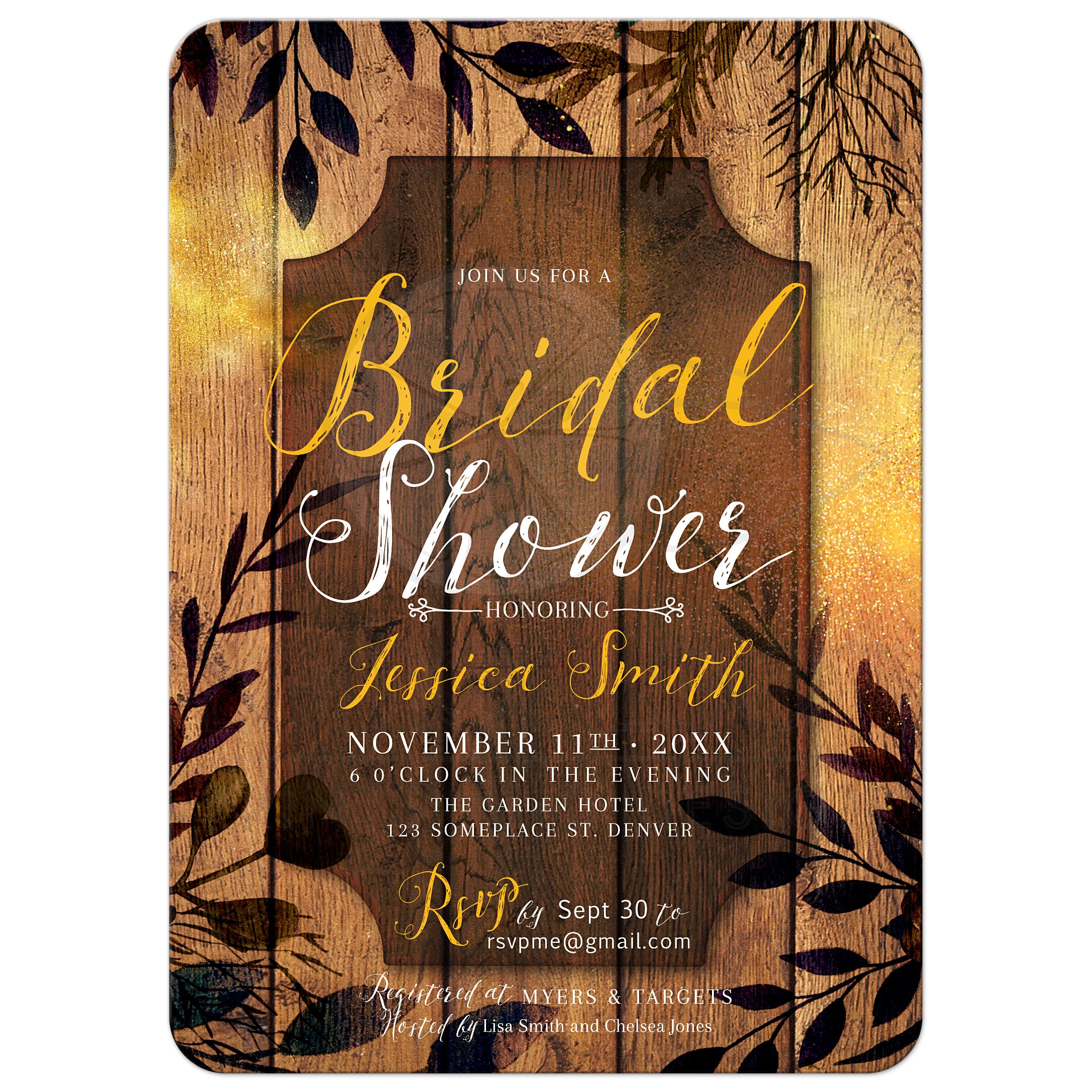 Gold Dust Rustic Bridal Shower Invitation