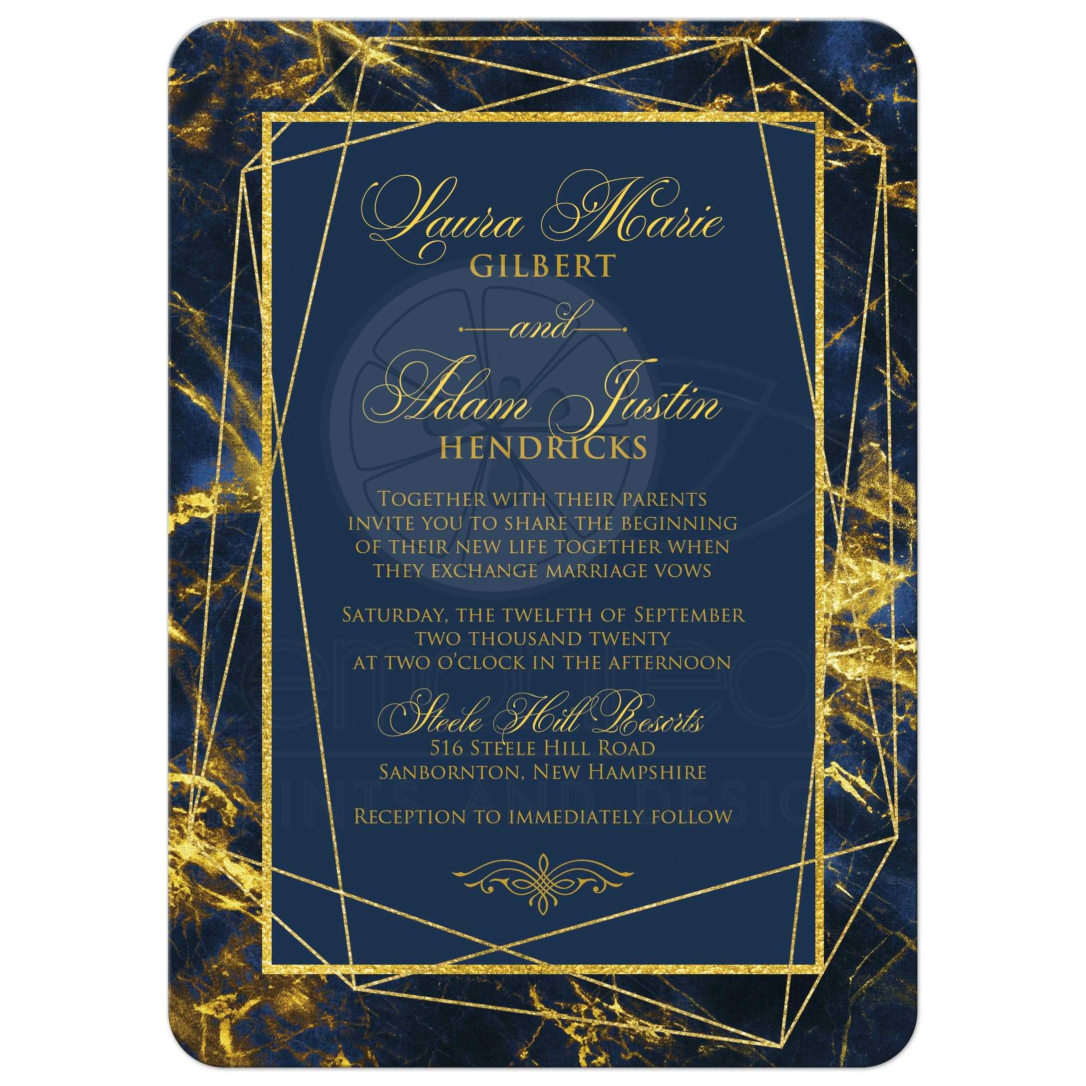 Navy, Royal Blue, Gold Geometric, Cosmic Marble Wedding Invitation