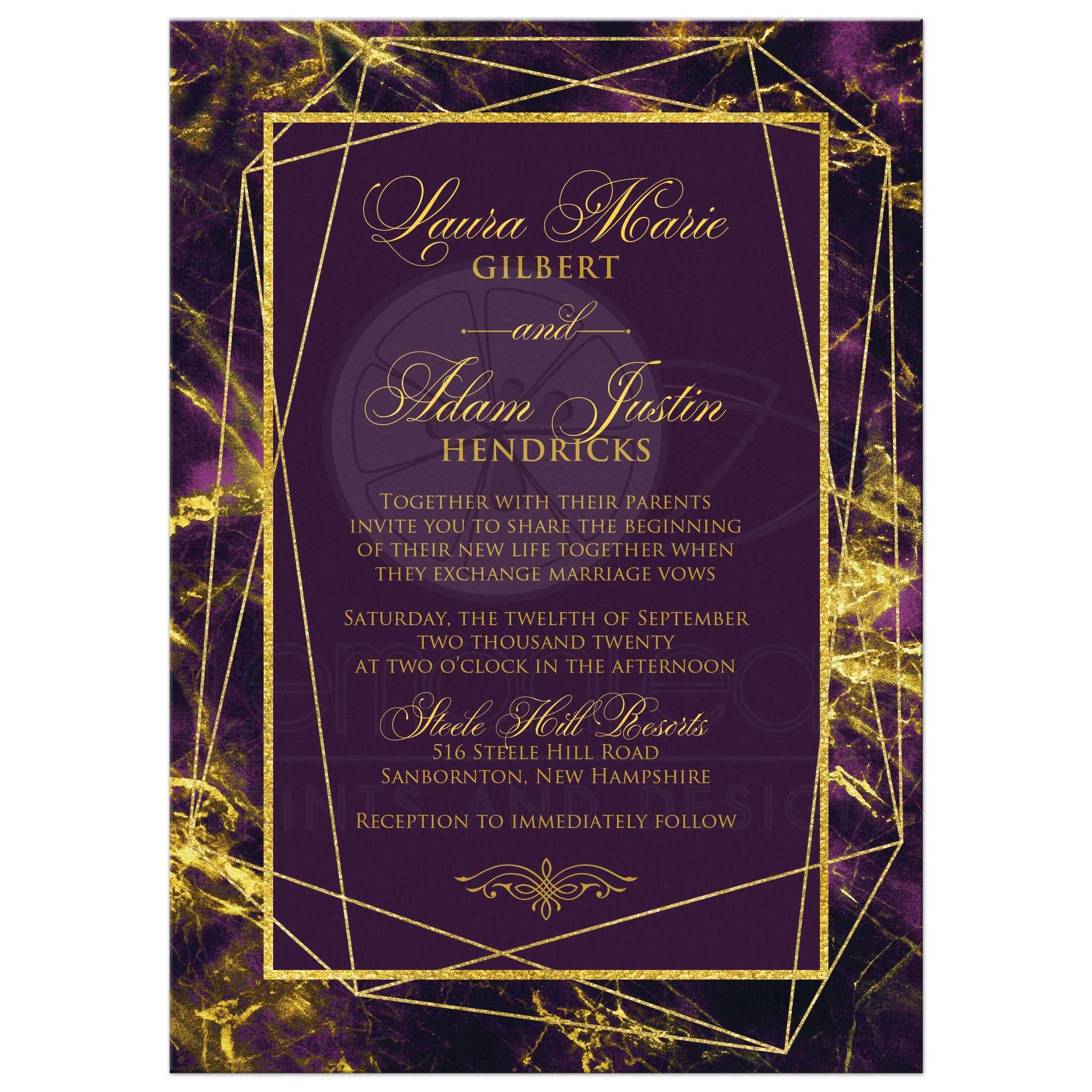 Gold And Purple Wedding Invitations: Purple, Gold Geometric Wedding Invitation With Marbled