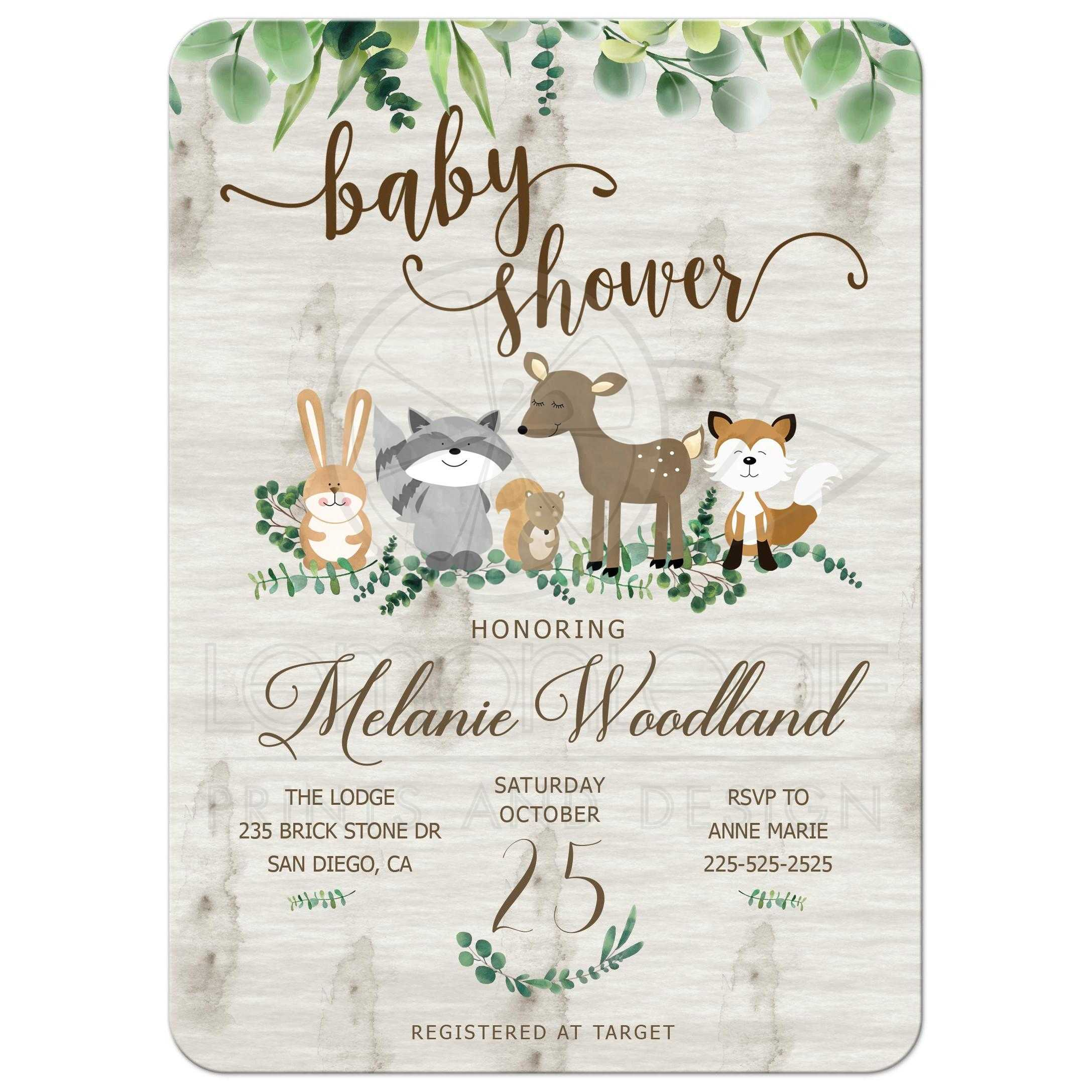 Neutral Woodland Animals Greenery Baby