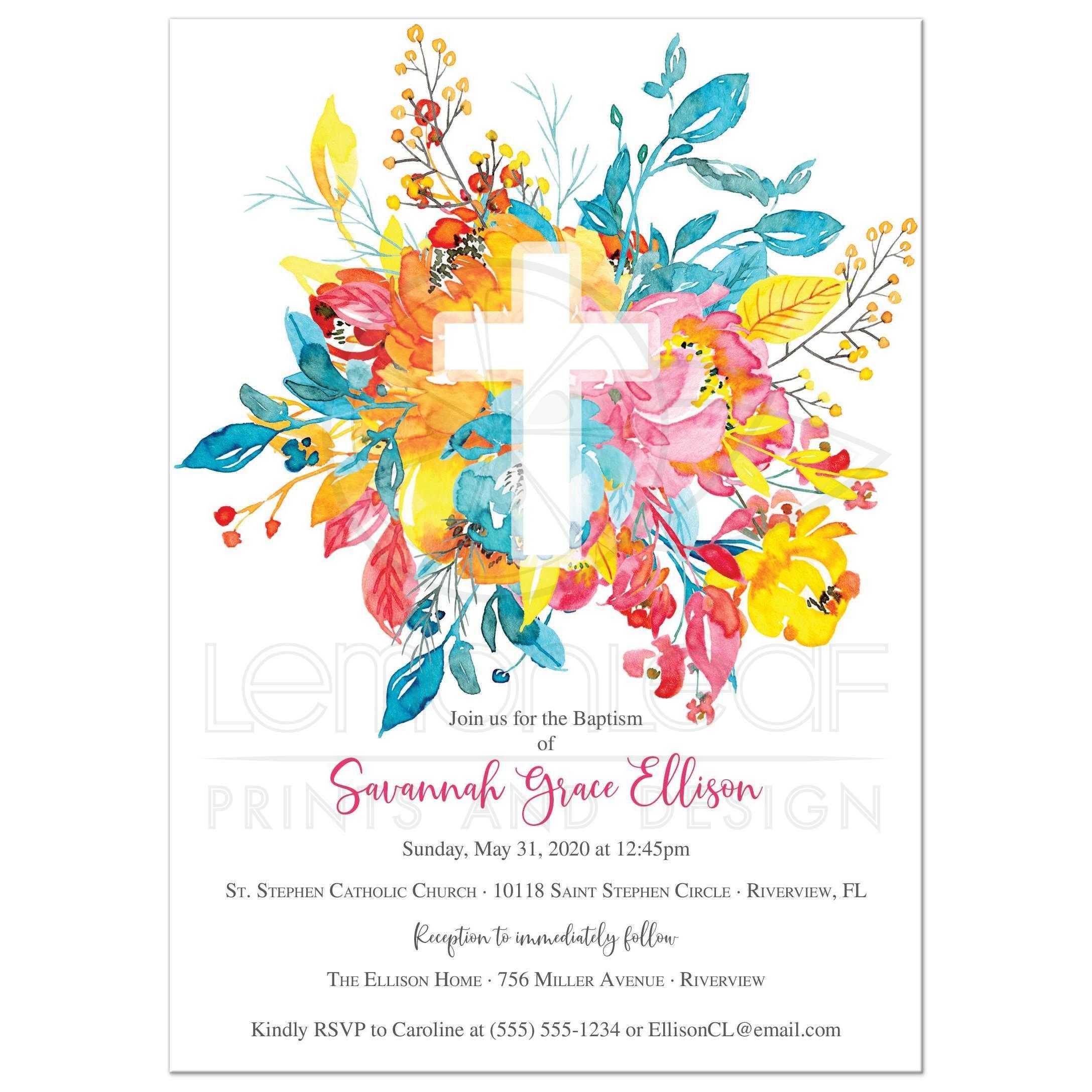 Watercolor Cross Invitations