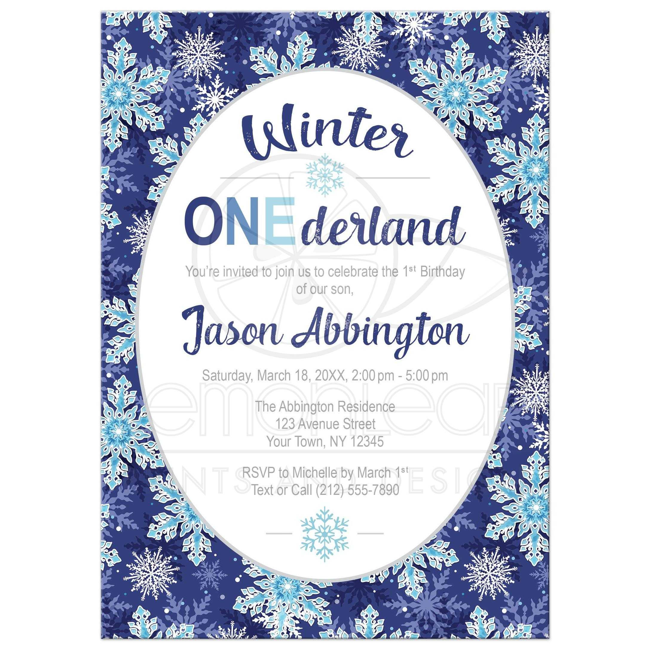 Winter Onederland Invitations Navy Blue Snowflake 1st Birthday