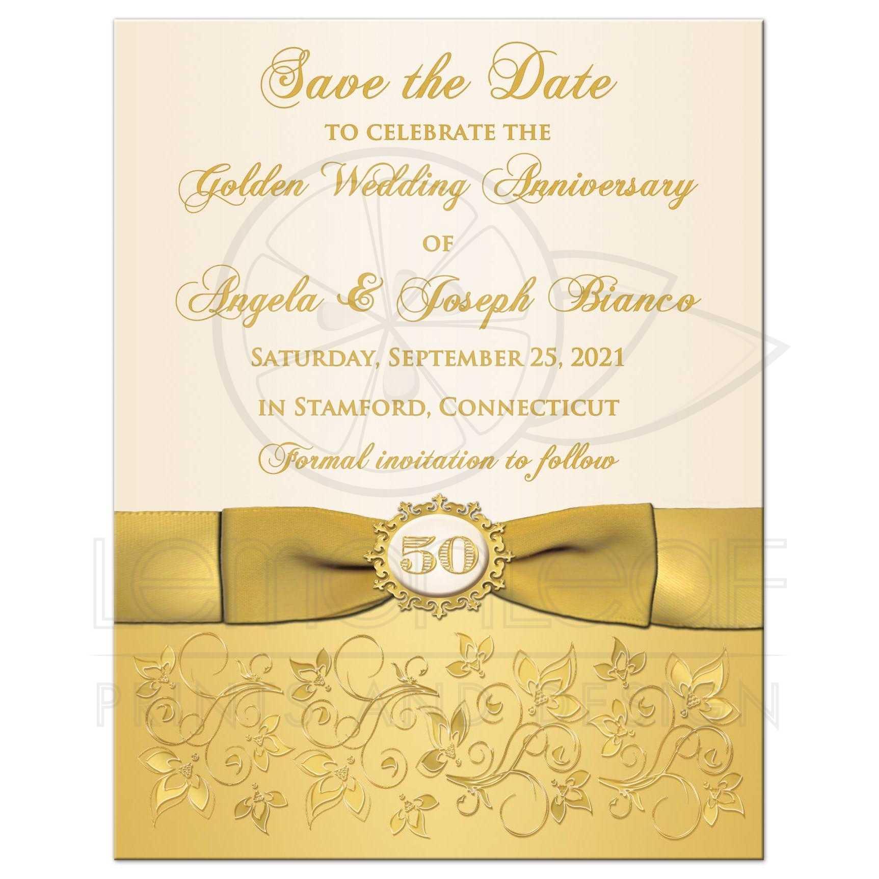 Flowers For Golden Wedding Anniversary: Ivory, Gold Floral Golden Wedding Anniversary Save The