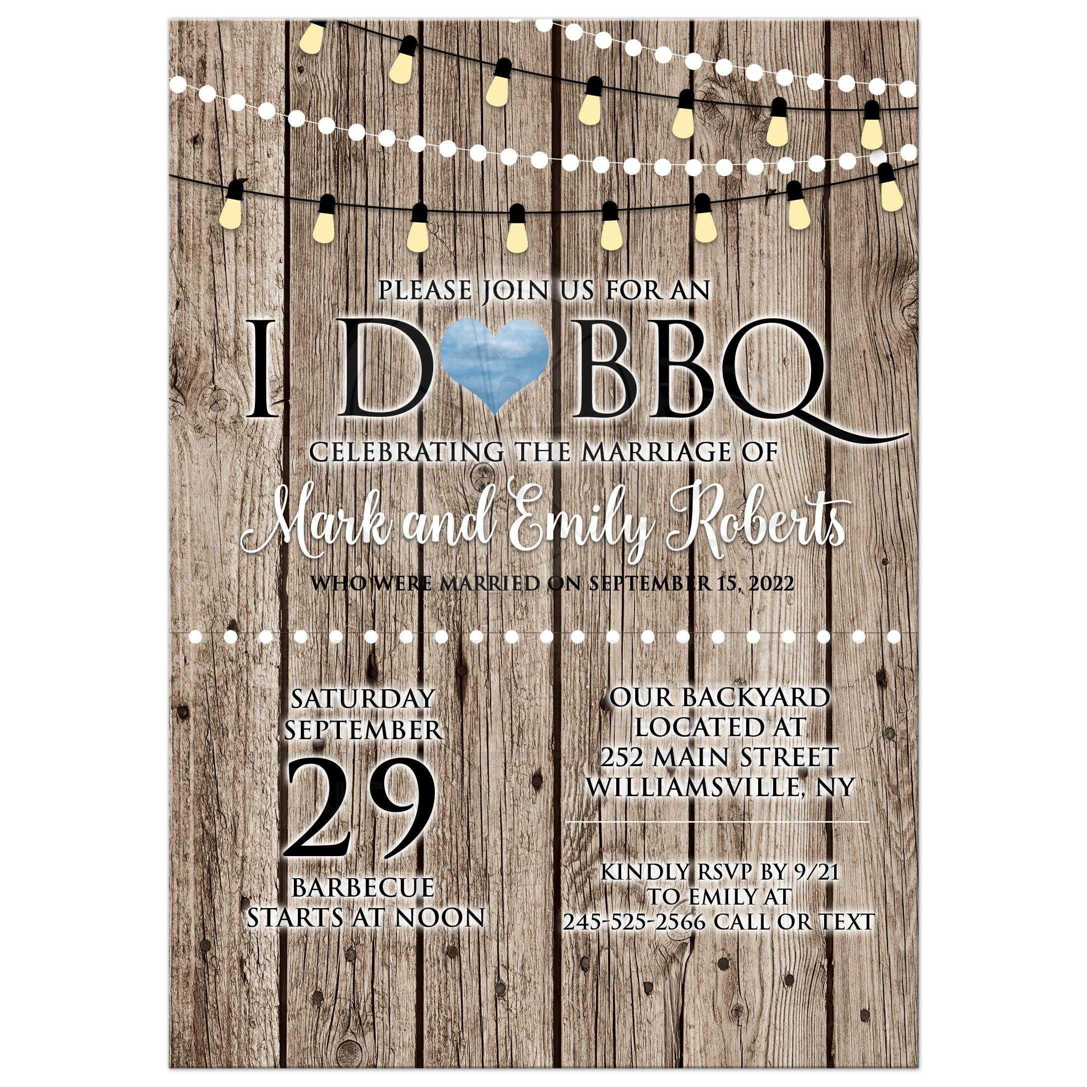 I Do BBQ Barbecue Rustic Post Wedding Reception Invitation
