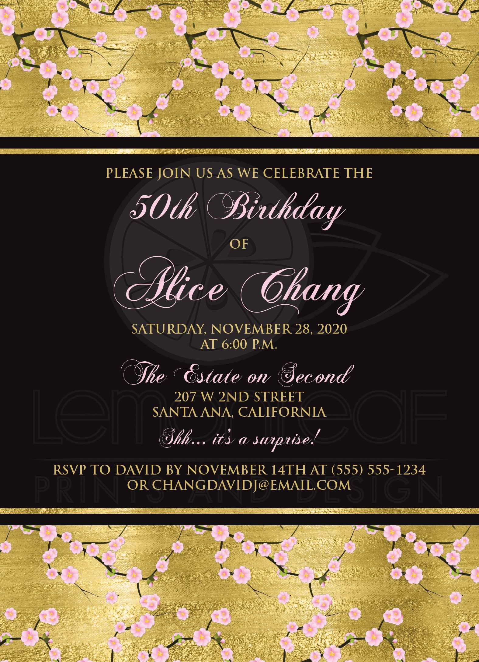 Cherry Blossoms 50th Birthday Invitation on SIMULATED Gold with Black