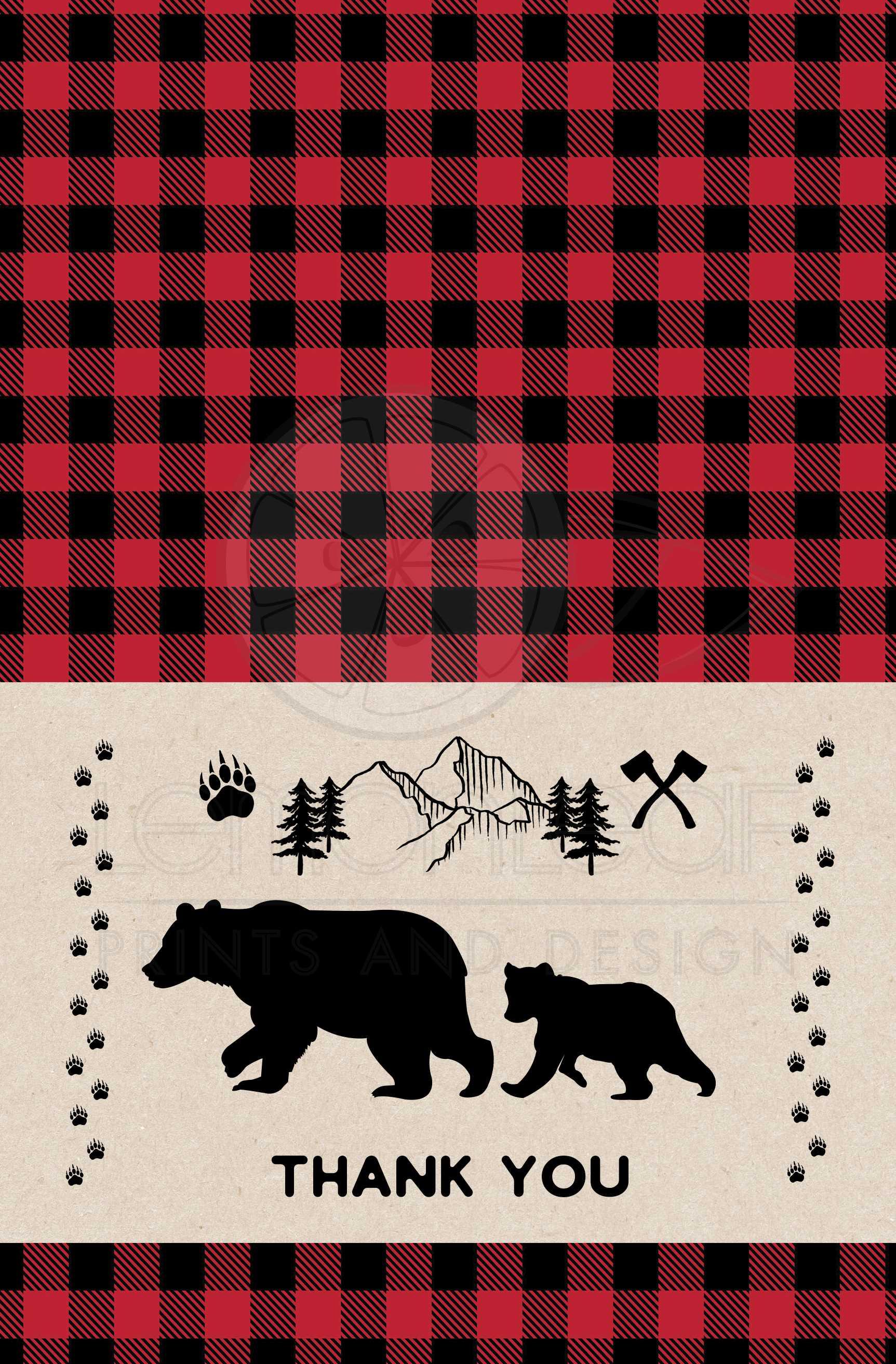 Buffalo Plaid Thank You Note Cards Printable Camp Theme