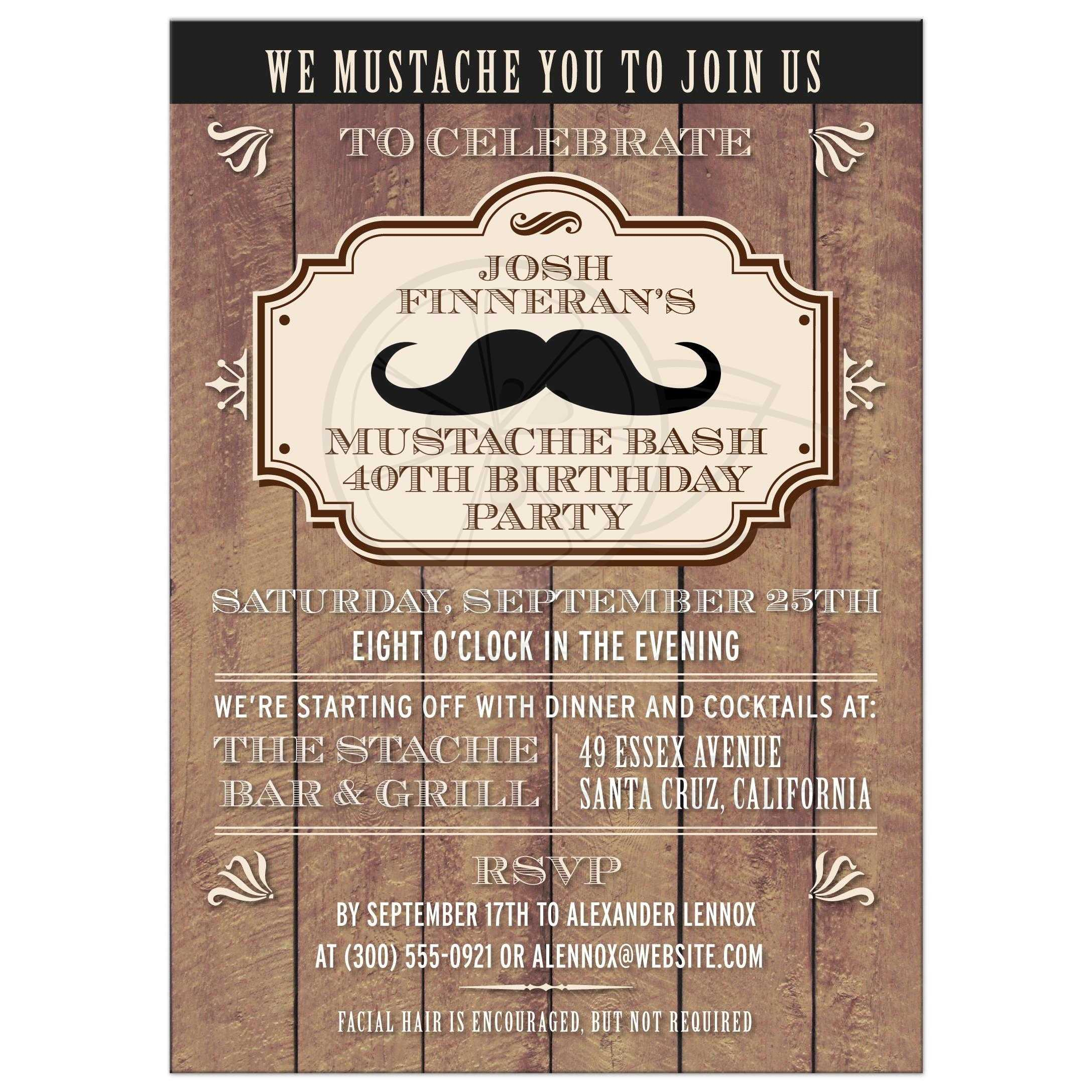 Invitation - Rustic Wood Mustache Bash